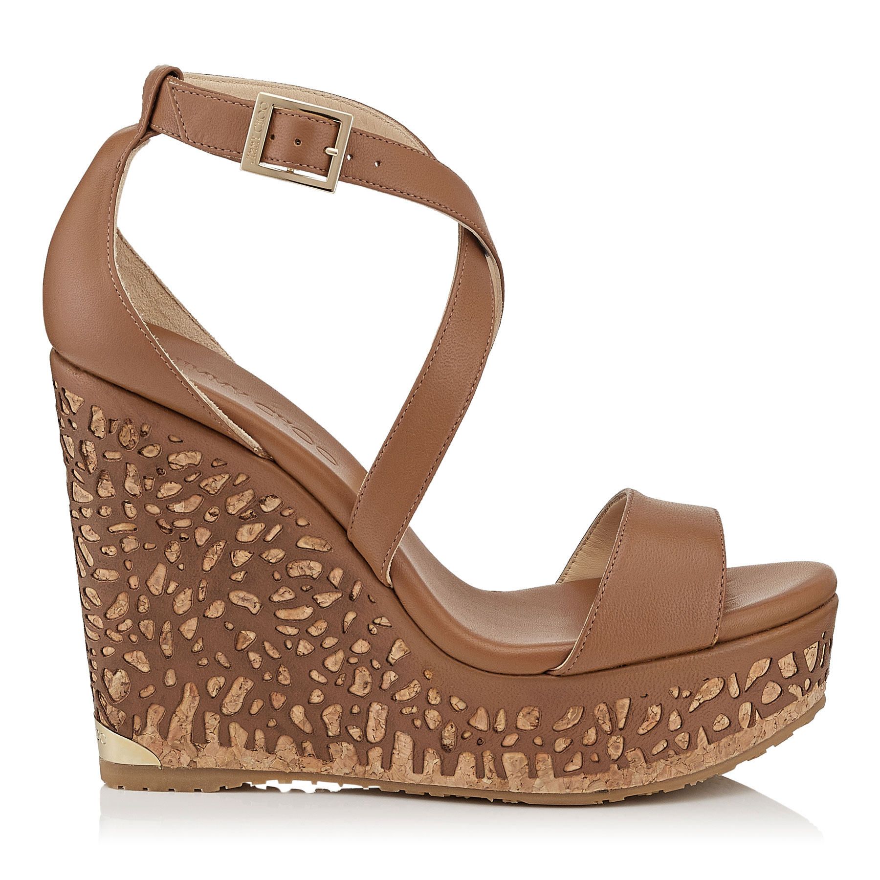 PORTIA 120 Canyon Leather Laser Perforated Cork Wedges