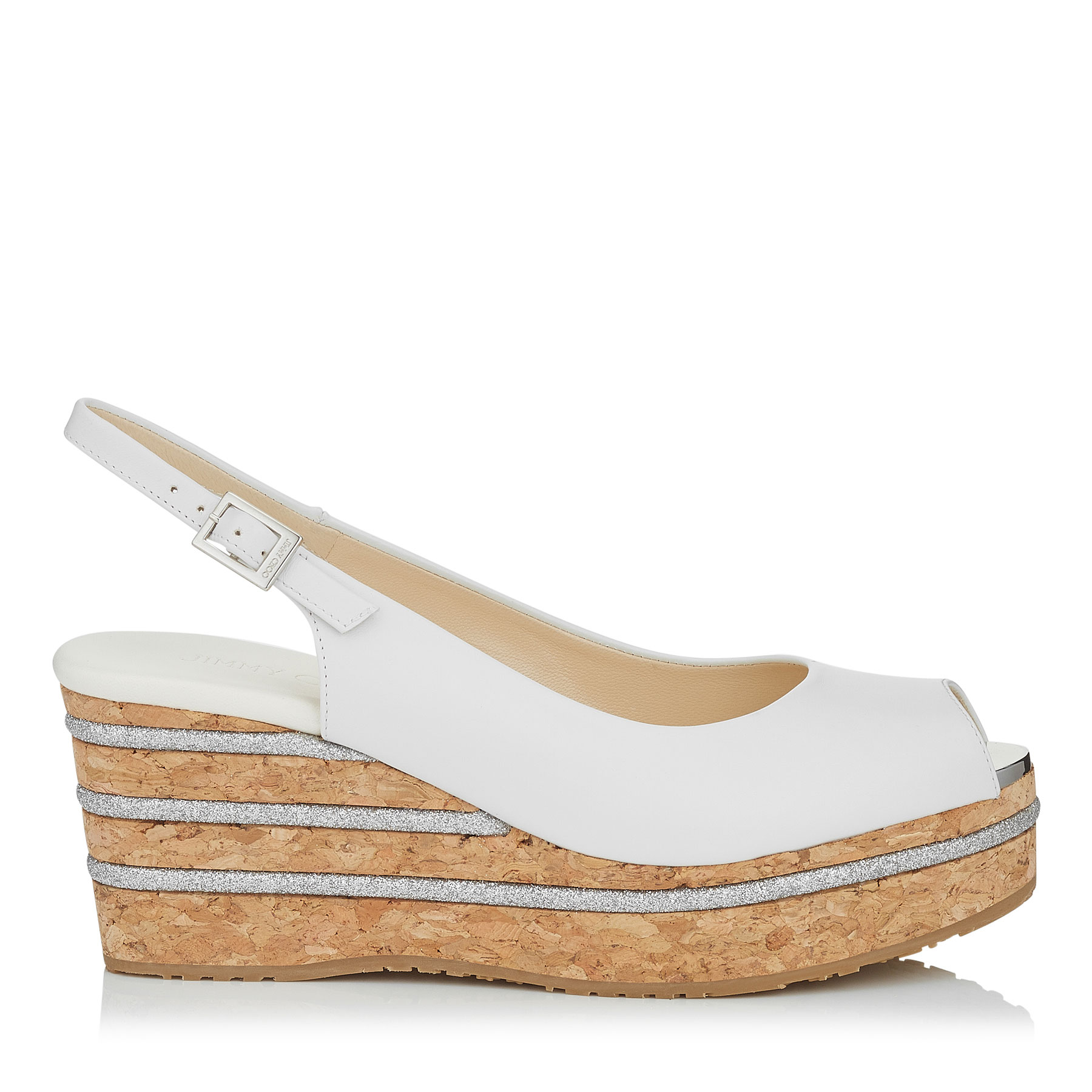 PRAISE Optic White Leather Cork Wedges with Glitter Stripes on Wedge