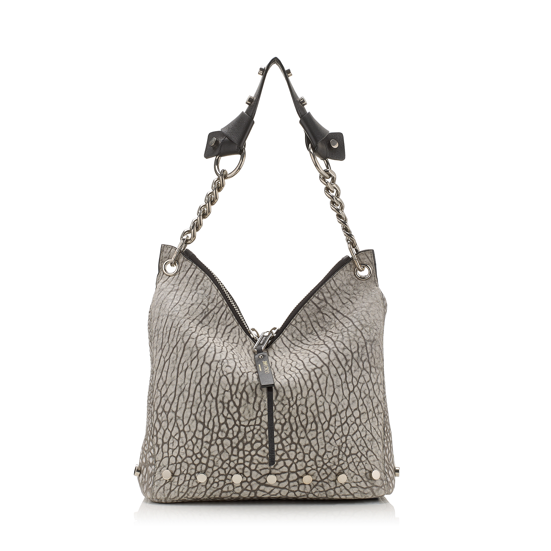 RAVEN/S Dove Washed Grainy Leather with Studs Shoulder Bag