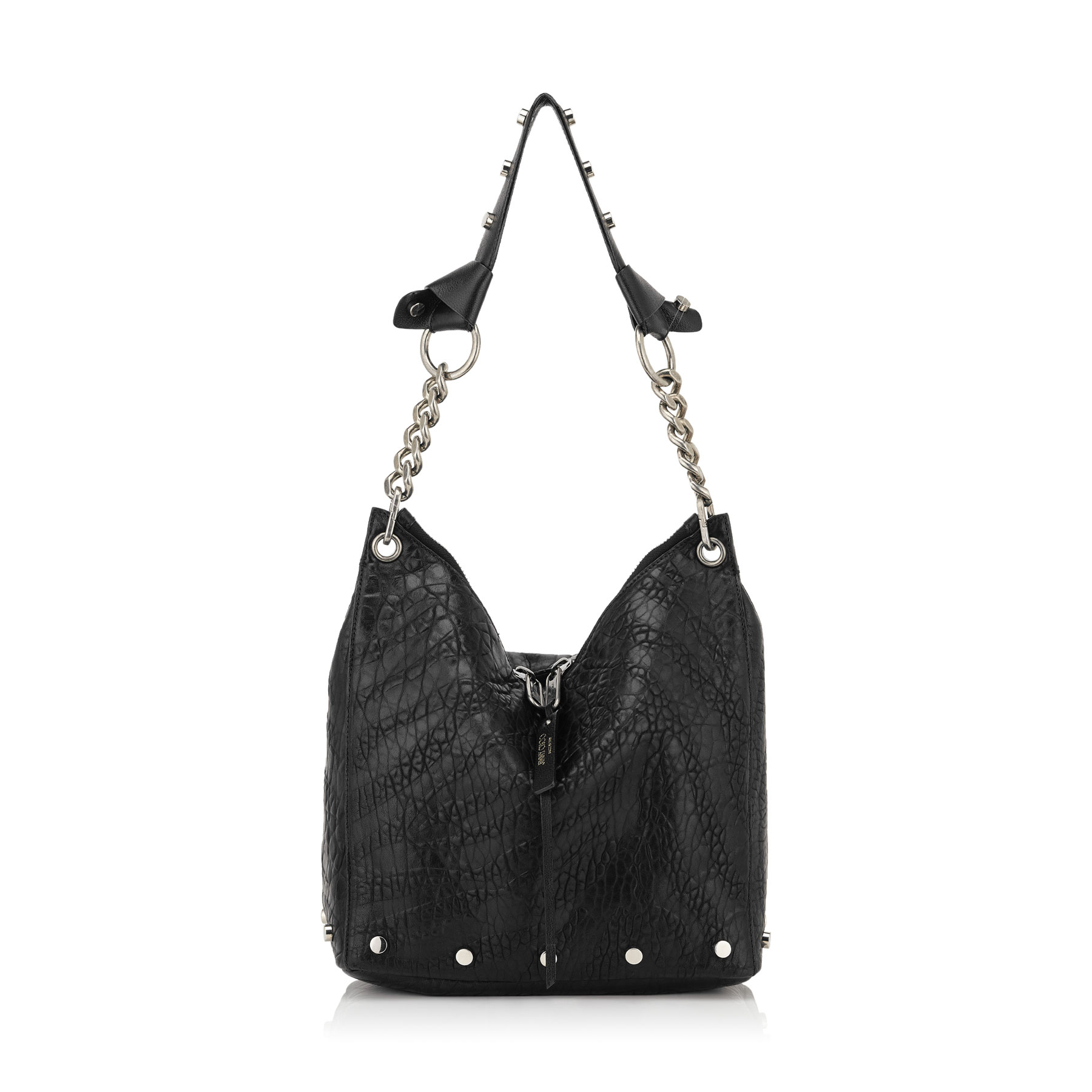 RAVEN/S Black Zebra Embossed Grainy Leather Small Shoulder Bag with Studs