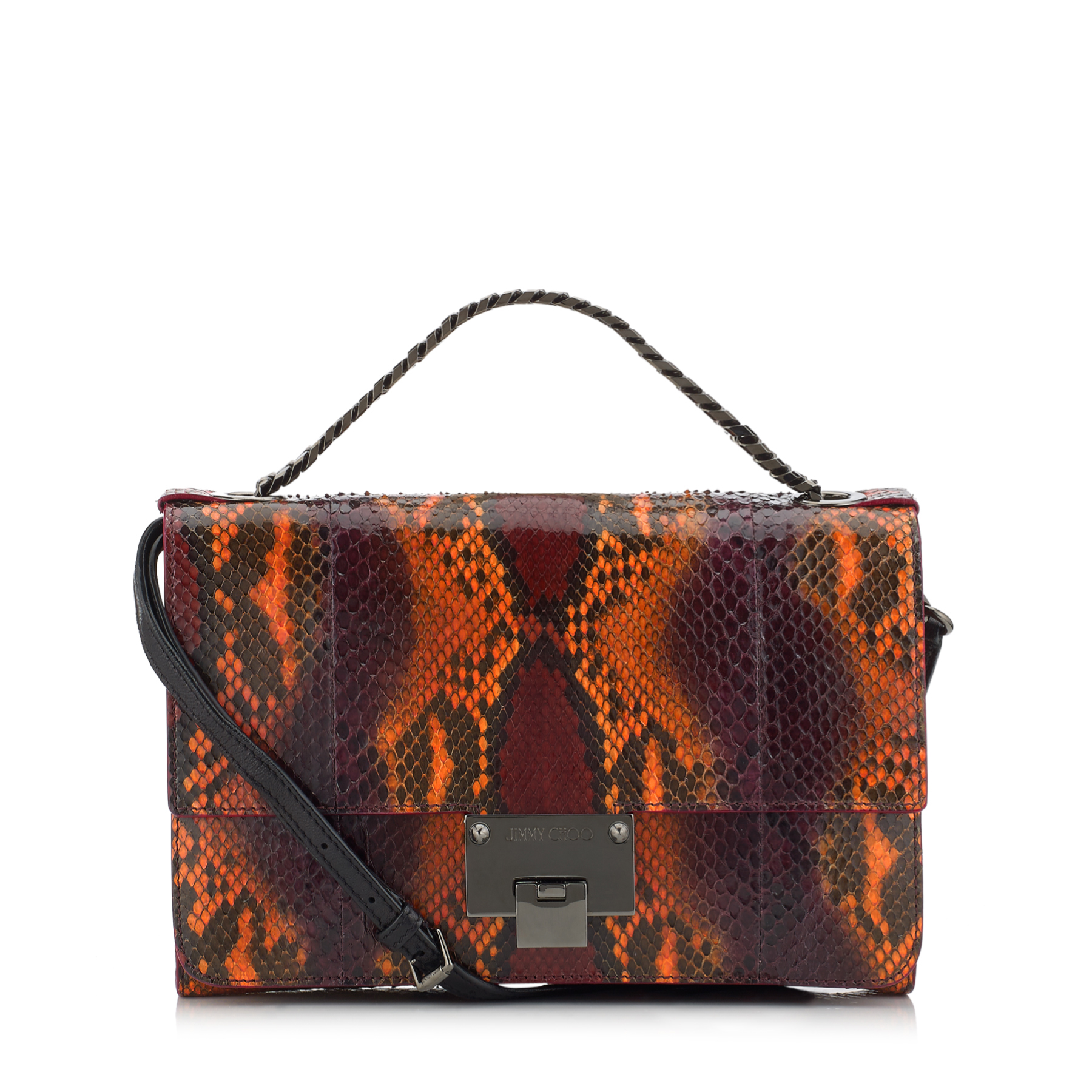 REBEL SOFT/S Neon Orange and Bordeaux Glossy Painted Python Messenger Bag