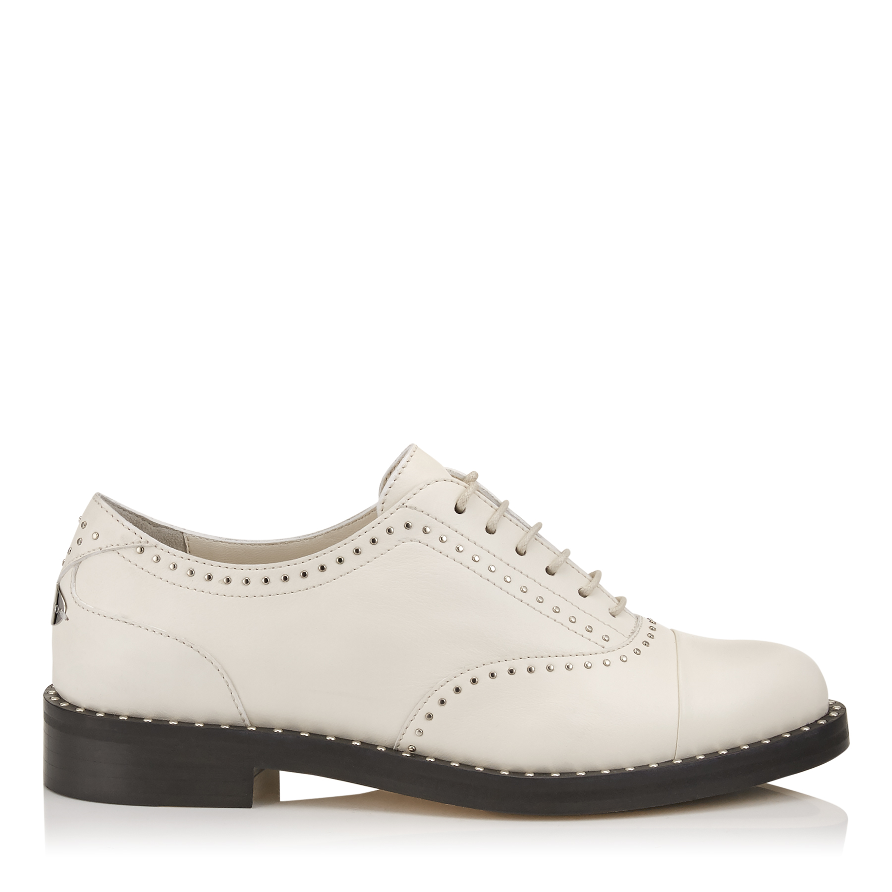 REEVE FLAT Chalk Nappa Leather Brogues with Micro Studs