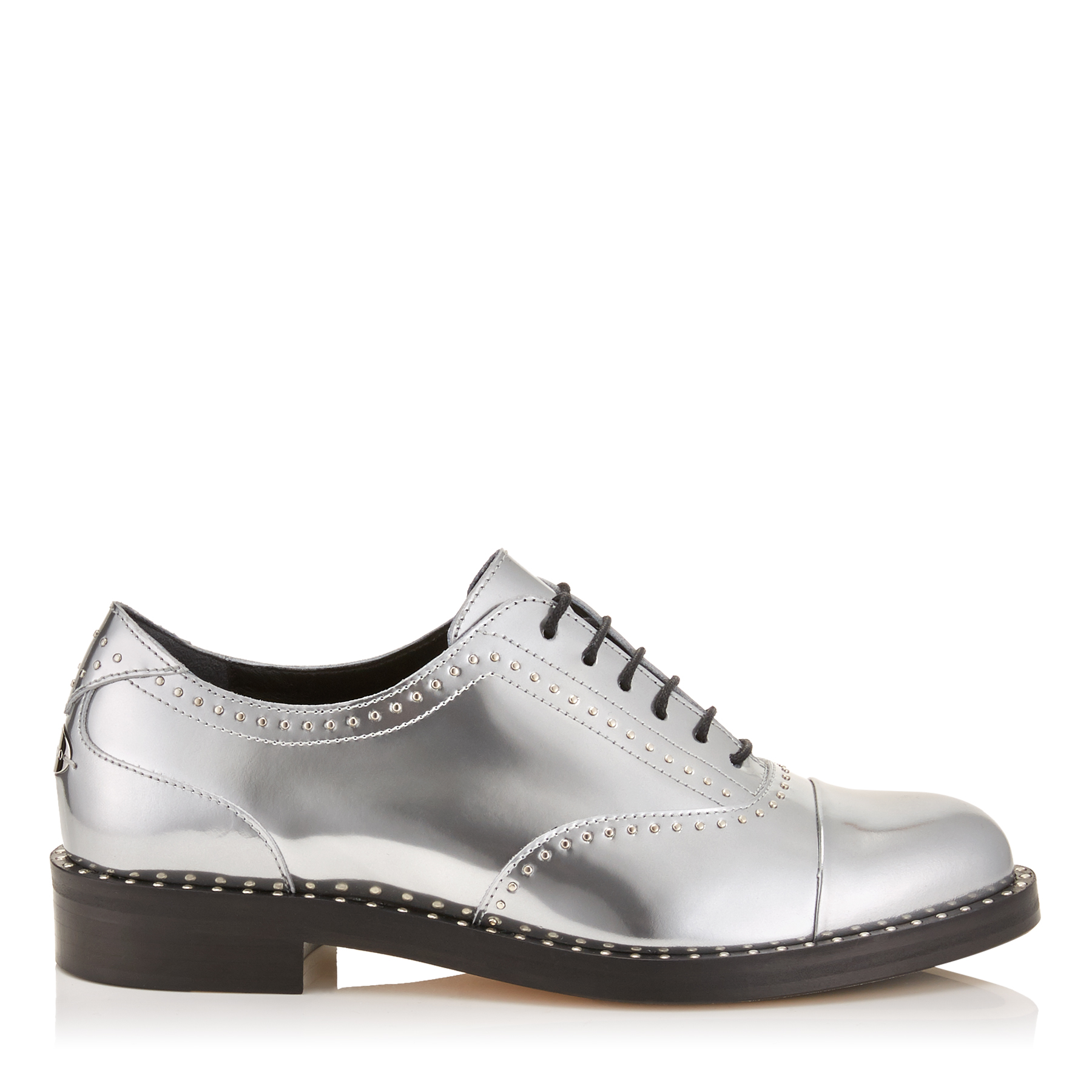 REEVE FLAT Silver Liquid Mirror Leather Brogues with Micro Studs
