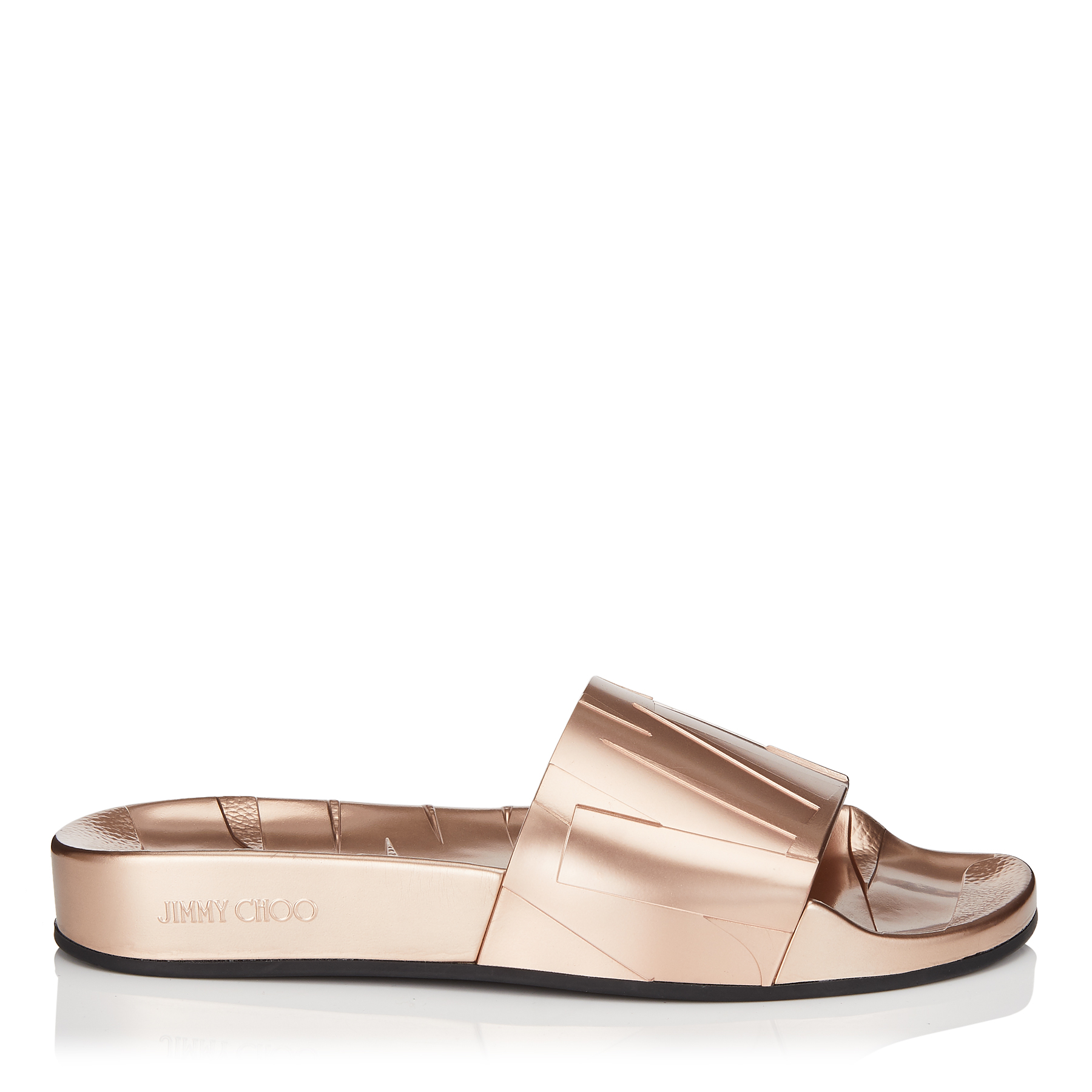 c3aba69bec6f REY F Tea Rose Metallic Rubber Slides by Jimmy Choo