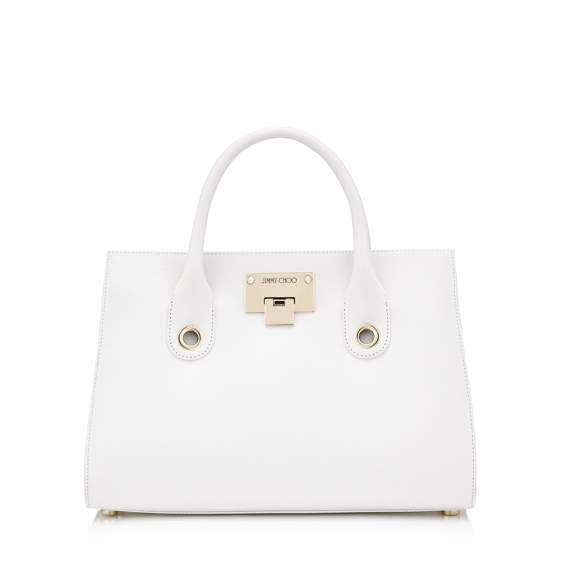 RILEY/M Optic White Soft Grained Leather Tote Bag