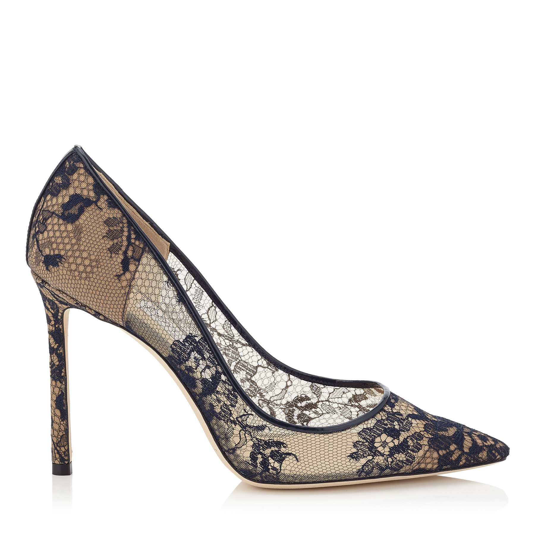 ROMY 100 Navy Lace Pointy Toe Pumps