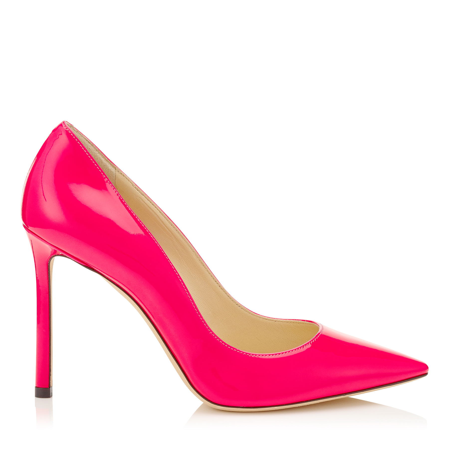 ROMY 100 Shocking Pink Neon Patent Pointy Toe Pumps