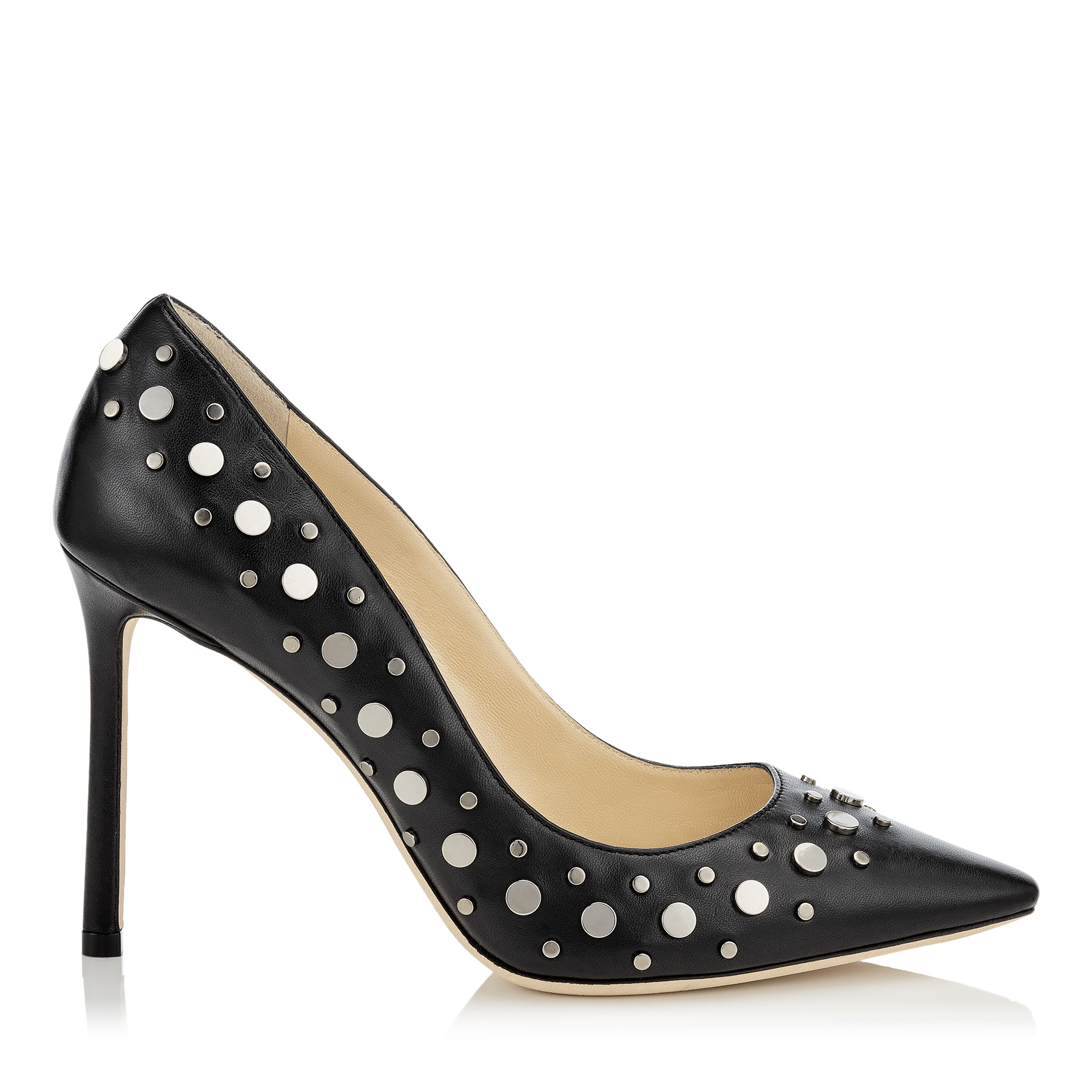 ROMY 100 Black Nappa Pointy Toe Pumps with Anthracite Studs by Jimmy Choo