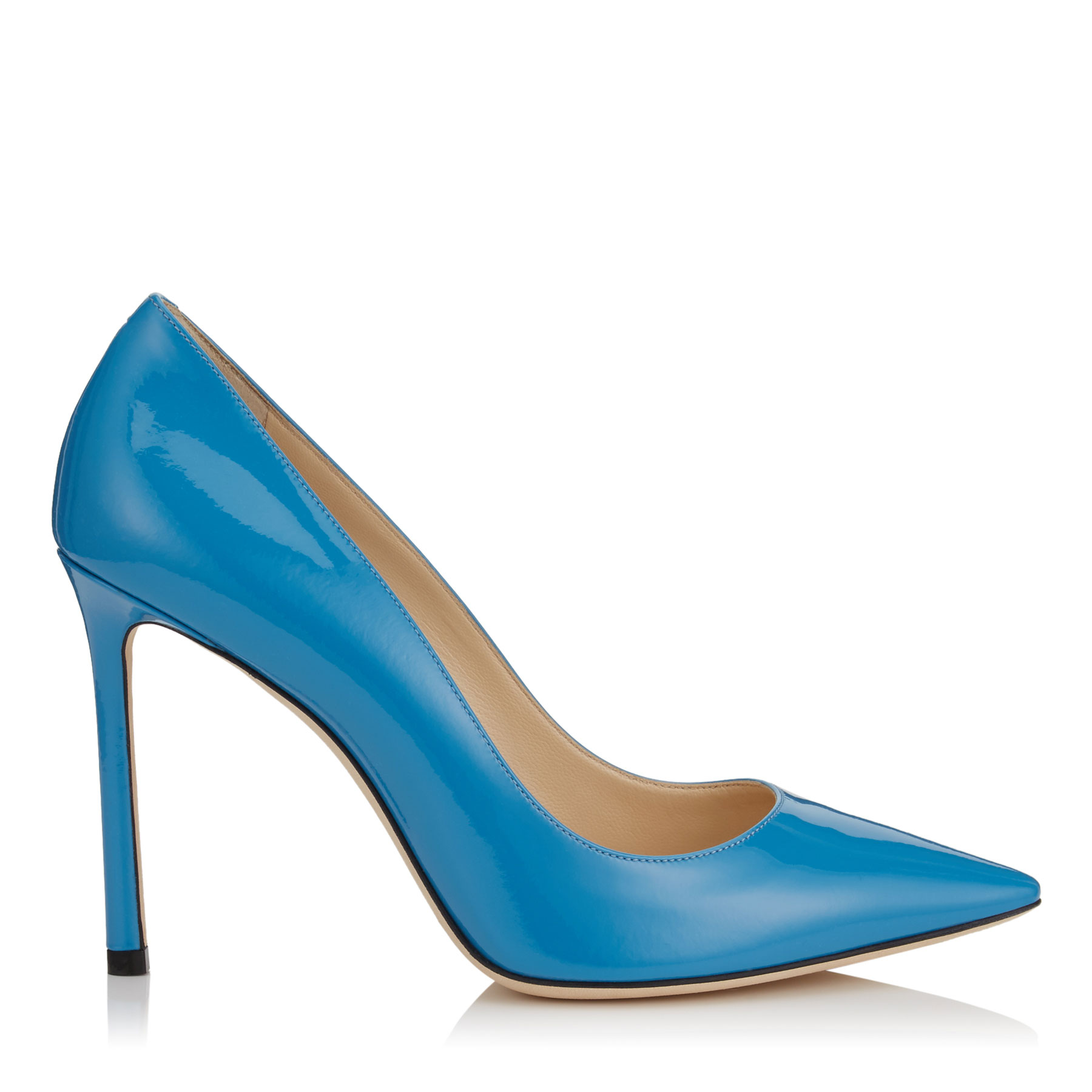 ROMY 100 Robot Blue Patent Leather Pointy Toe Pumps