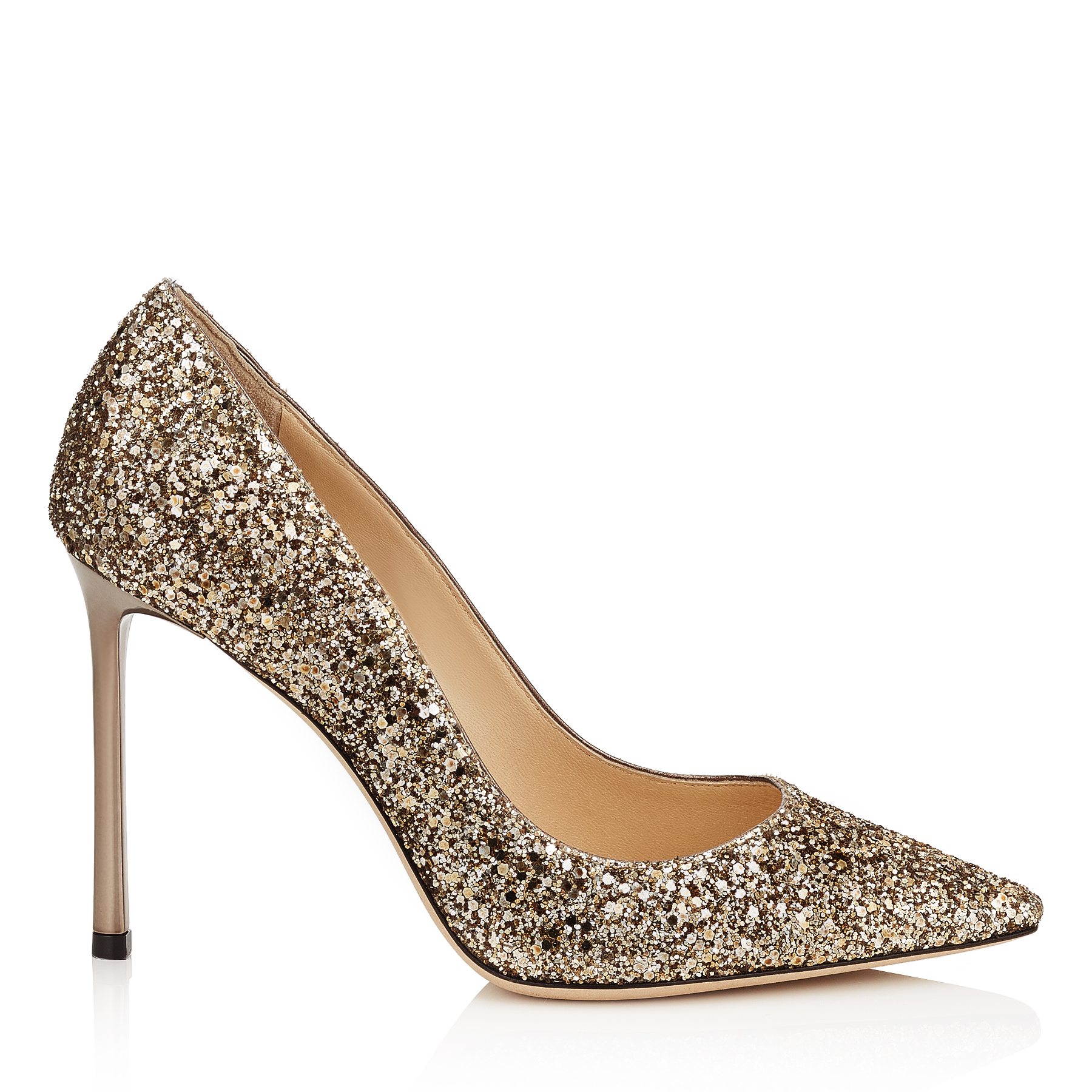 ROMY 100 Antique Gold Coarse Glitter Pointy Toe Pumps