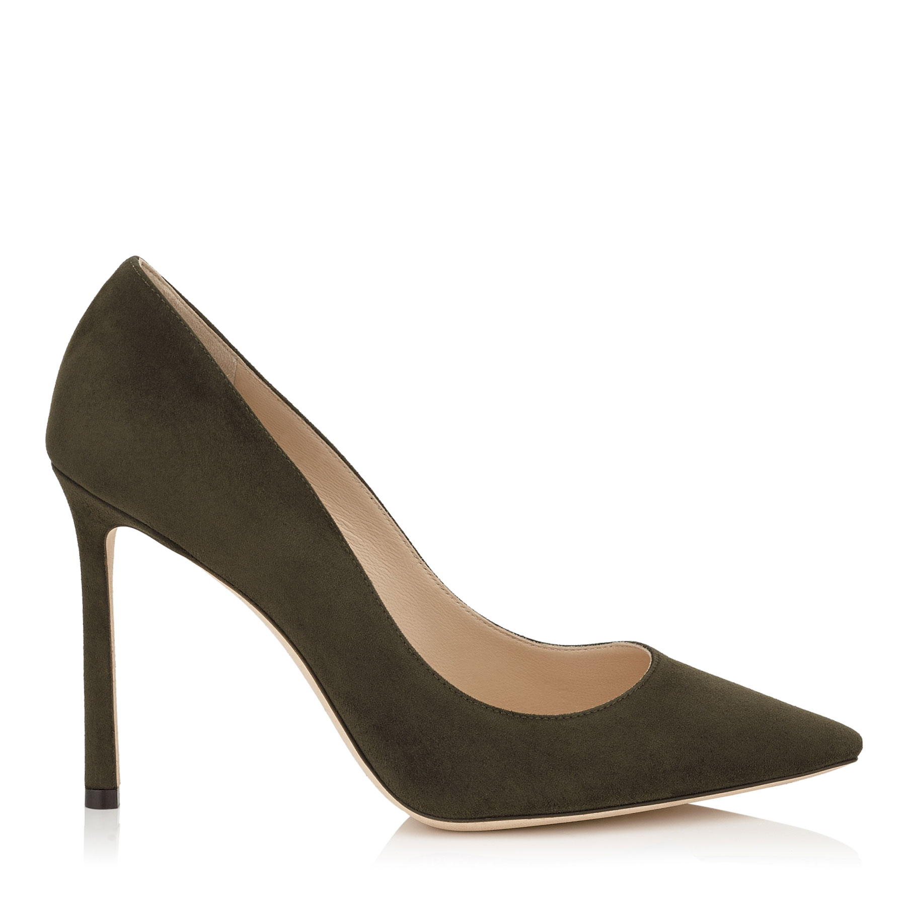 ROMY 100 Army Green Suede Pointy Toe Pumps