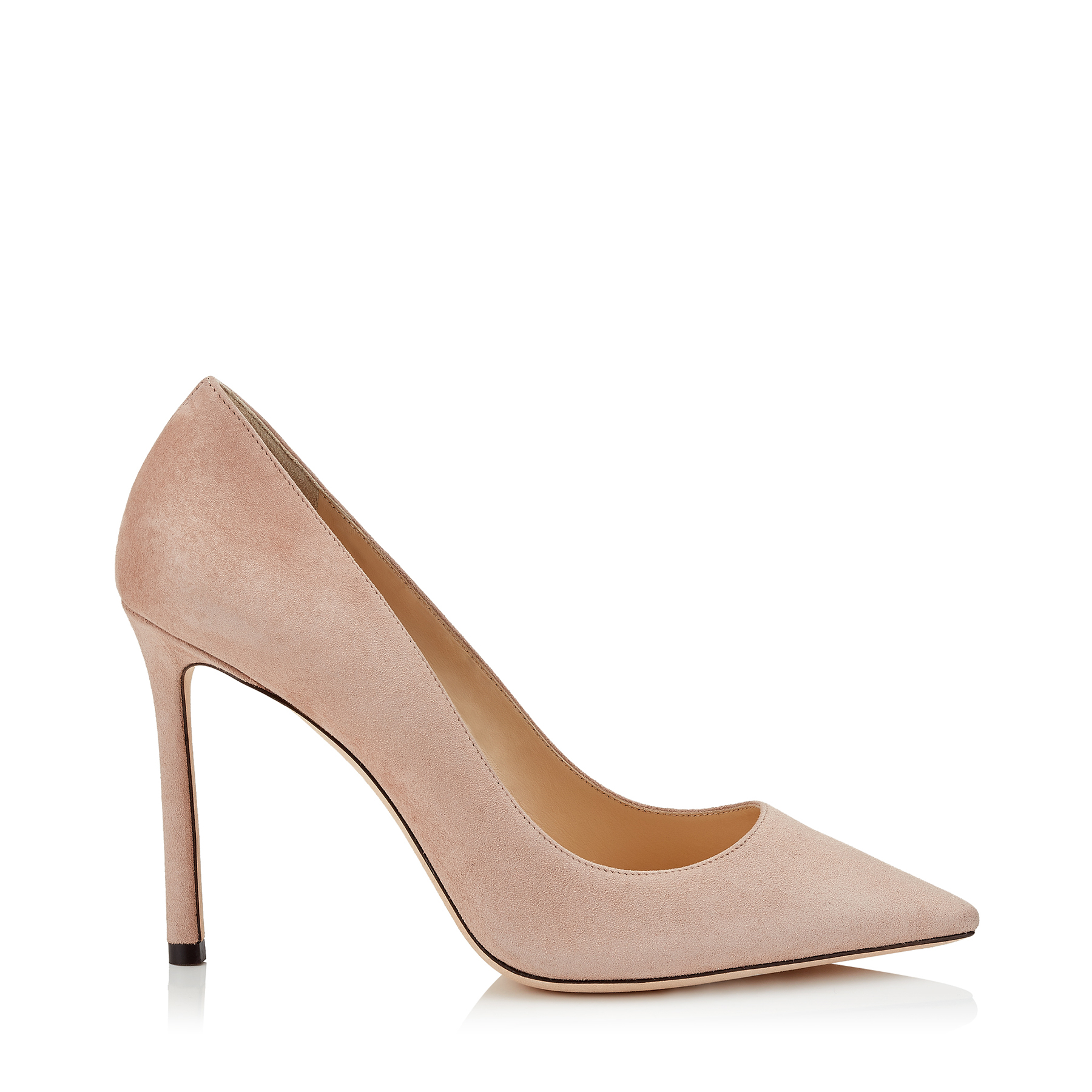 ROMY 100 Ballet Pink Suede Pointy Toe Pumps