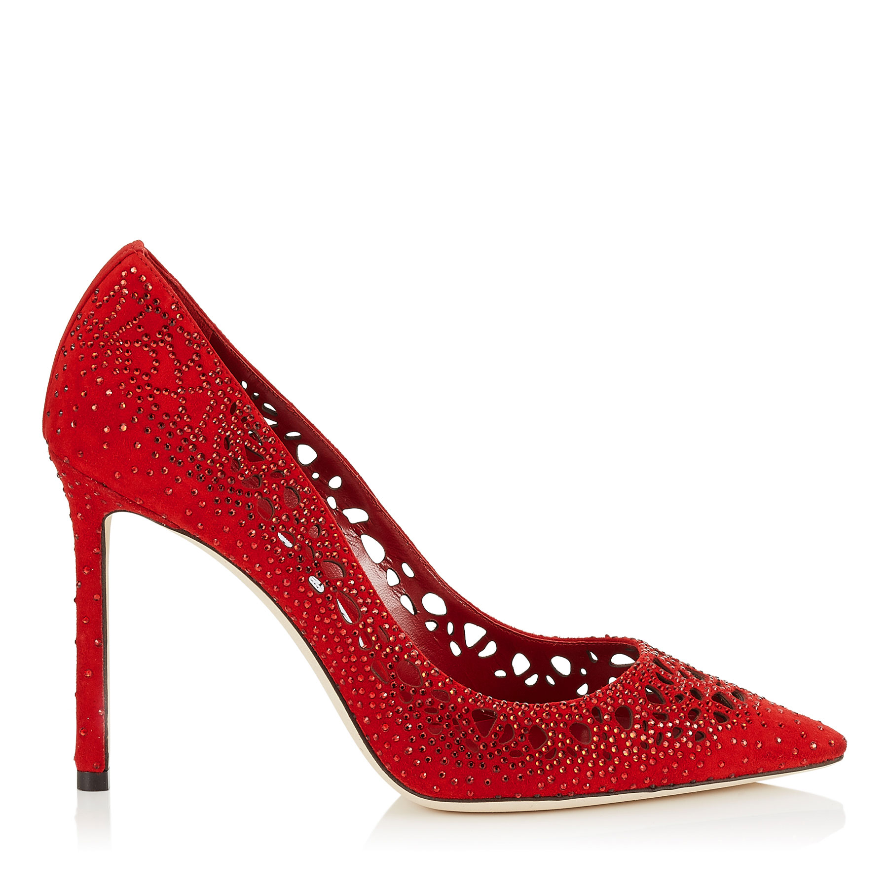 ROMY 110 Red Perforated Suede with Crystal Hotfix Detailing Pointy Toe Pumps
