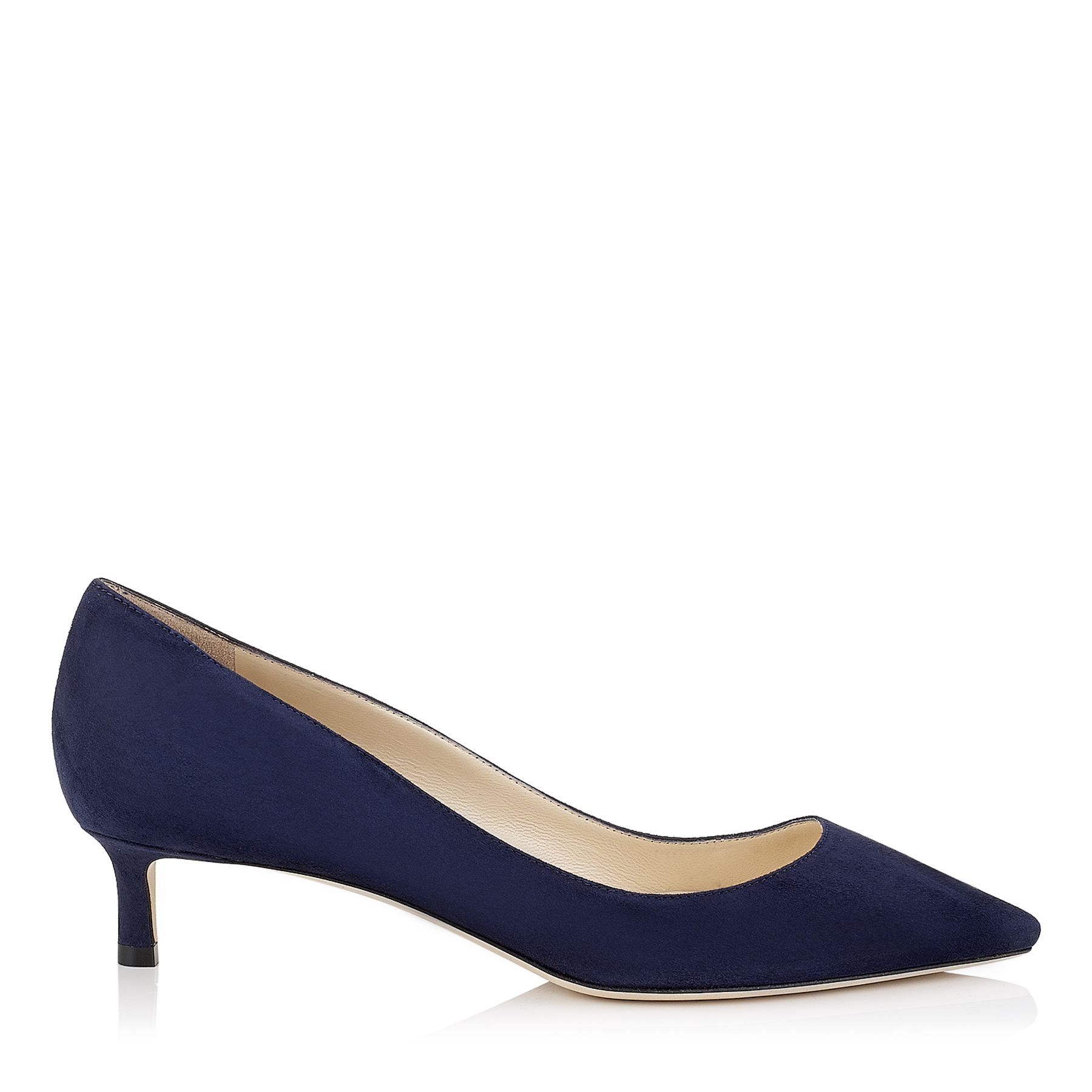 ROMY 40 Navy Suede Pointy Toe Pumps