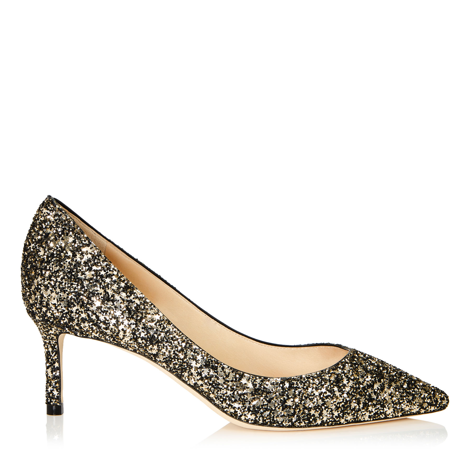 ROMY 60 Gold Mix Star Coarse Glitter Fabric Pointy Toe Pumps