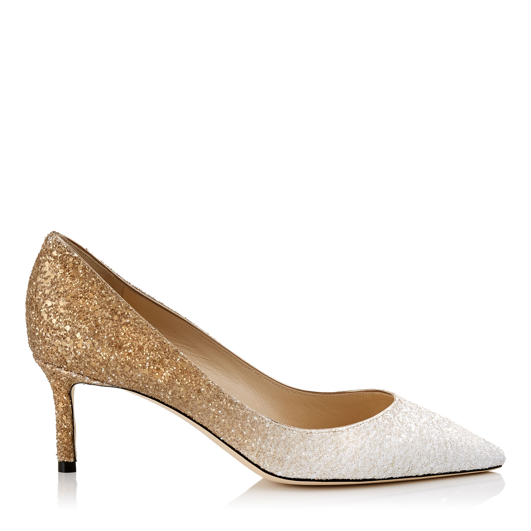 ROMY 60 White and Light Gold Coarse Glitter Dégradé Pointy Toe Pumps