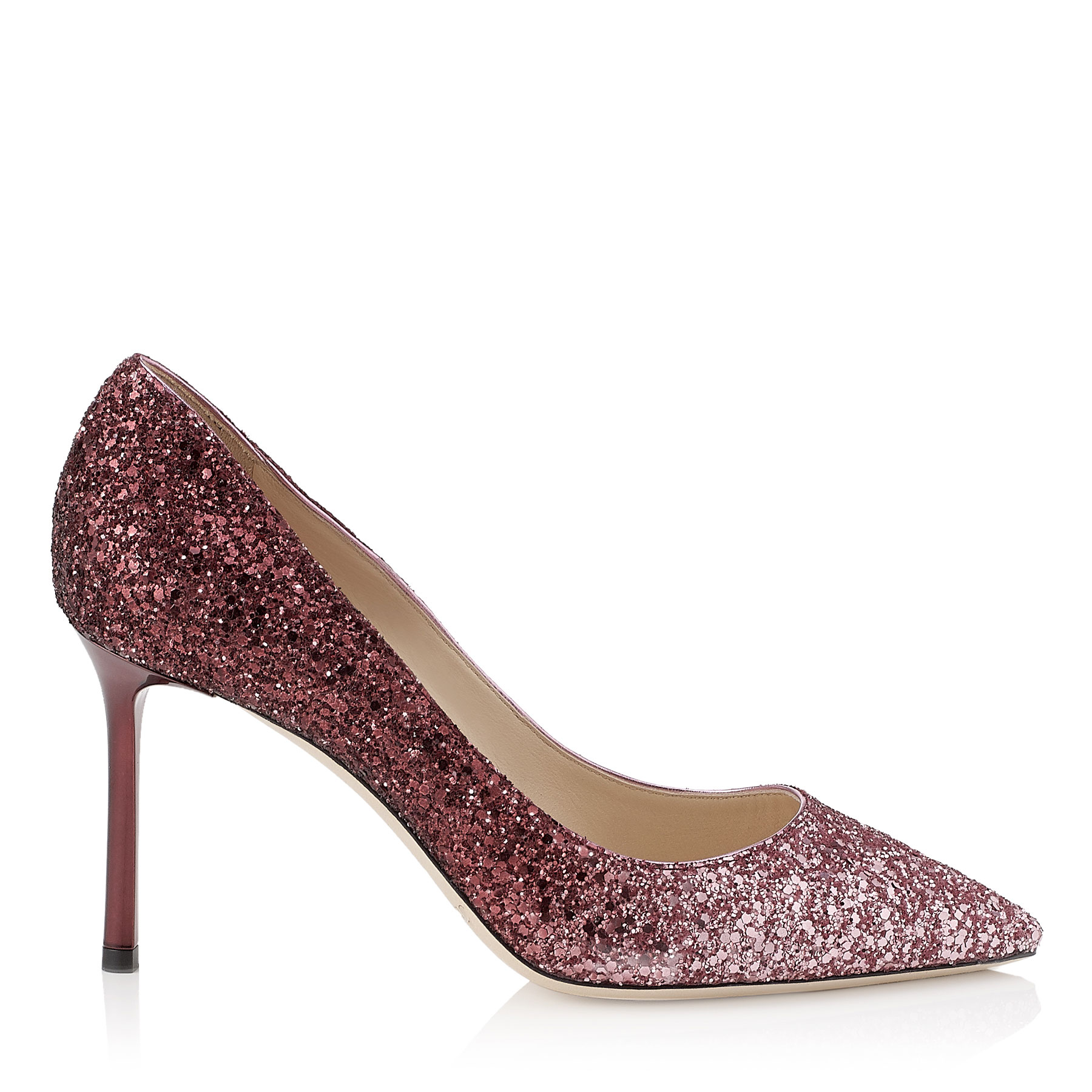 ROMY 85 Pink and Bordeaux Dégradé Coarse Glitter Fabric Pointy Toe Pumps