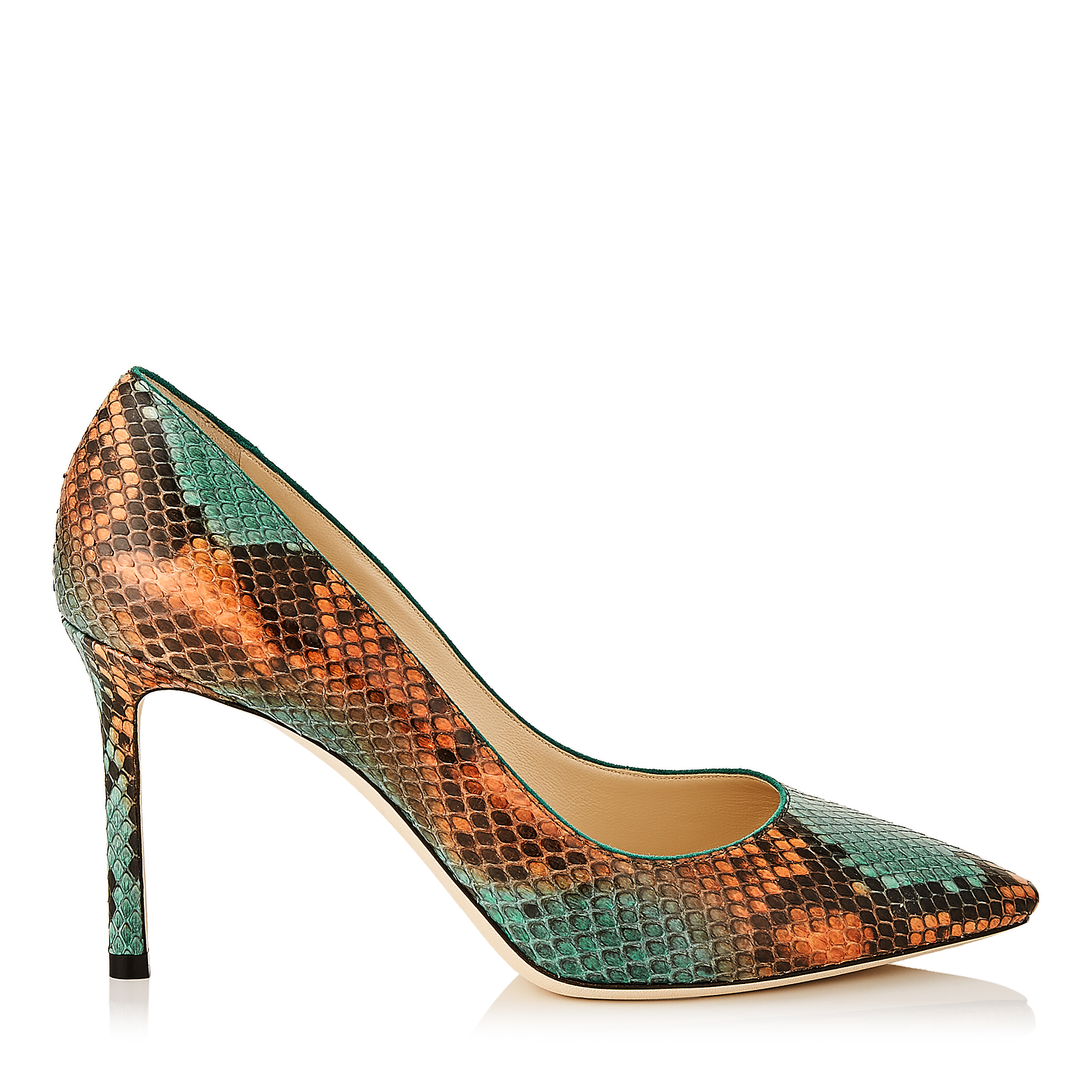 ROMY 85 Calypso and Emerald Dégradé Painted Python Pointy Toe Pumps by Jimmy Choo