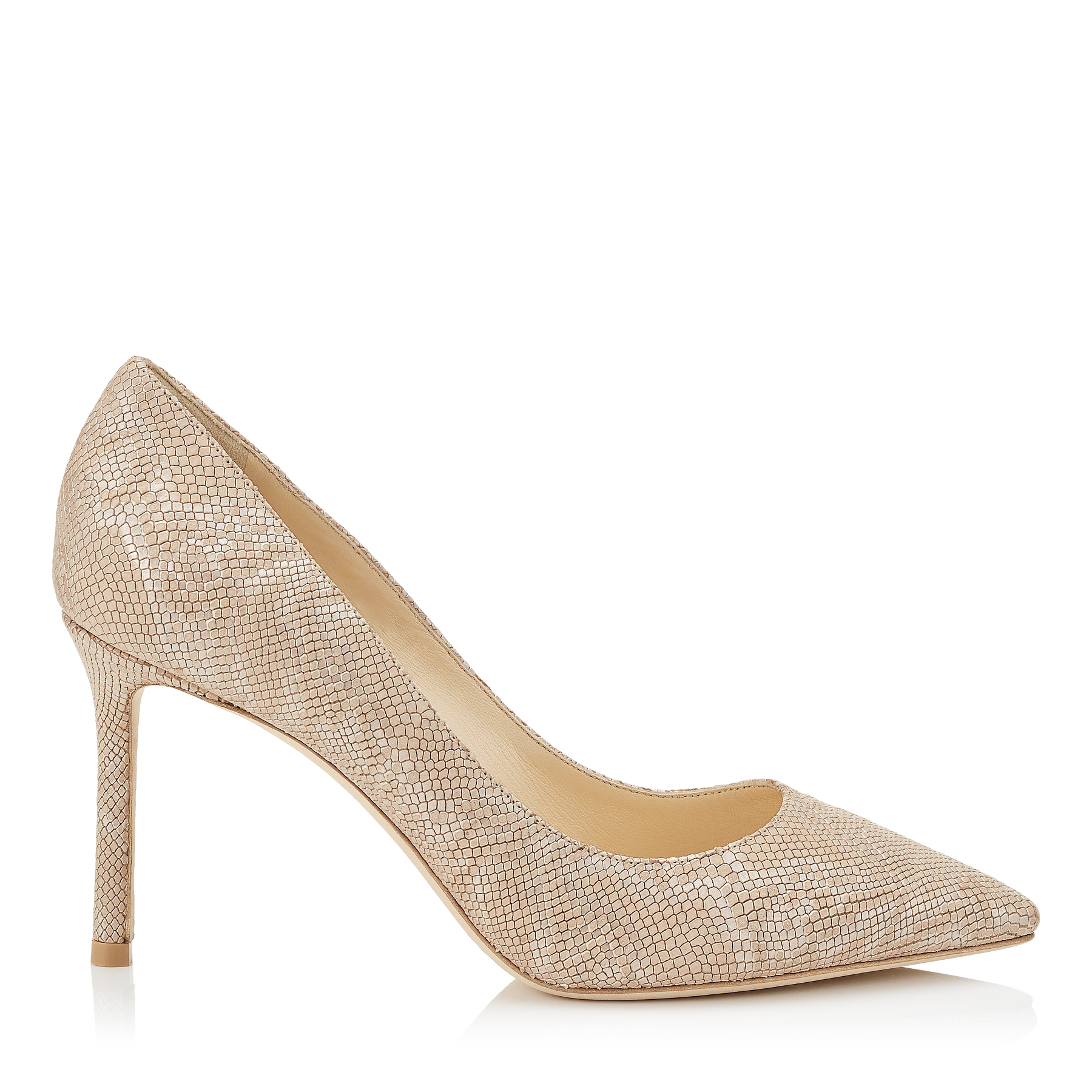 ROMY 85 Nude Metallic Embossed Lame Leather Pointy Toe Pumps