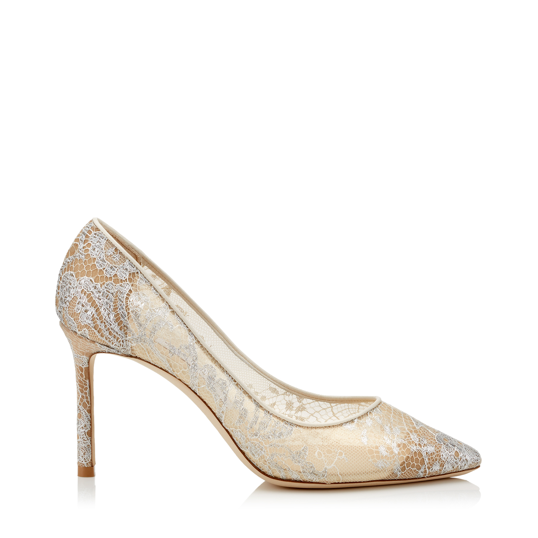 ROMY 85 White Lace Pointy Toe Pumps