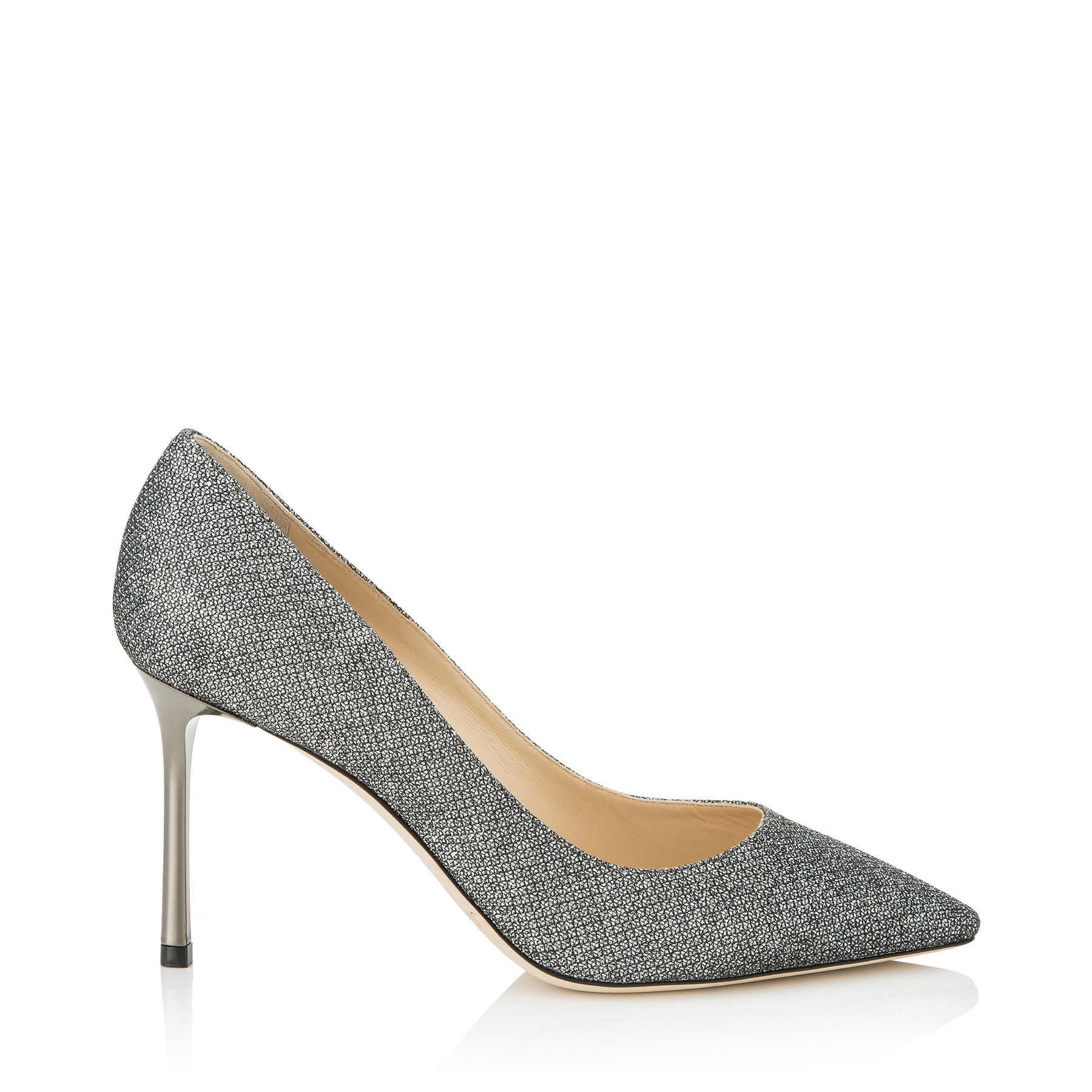 ROMY 85 Anthracite Lamé Glitter Pointy Toe Pumps