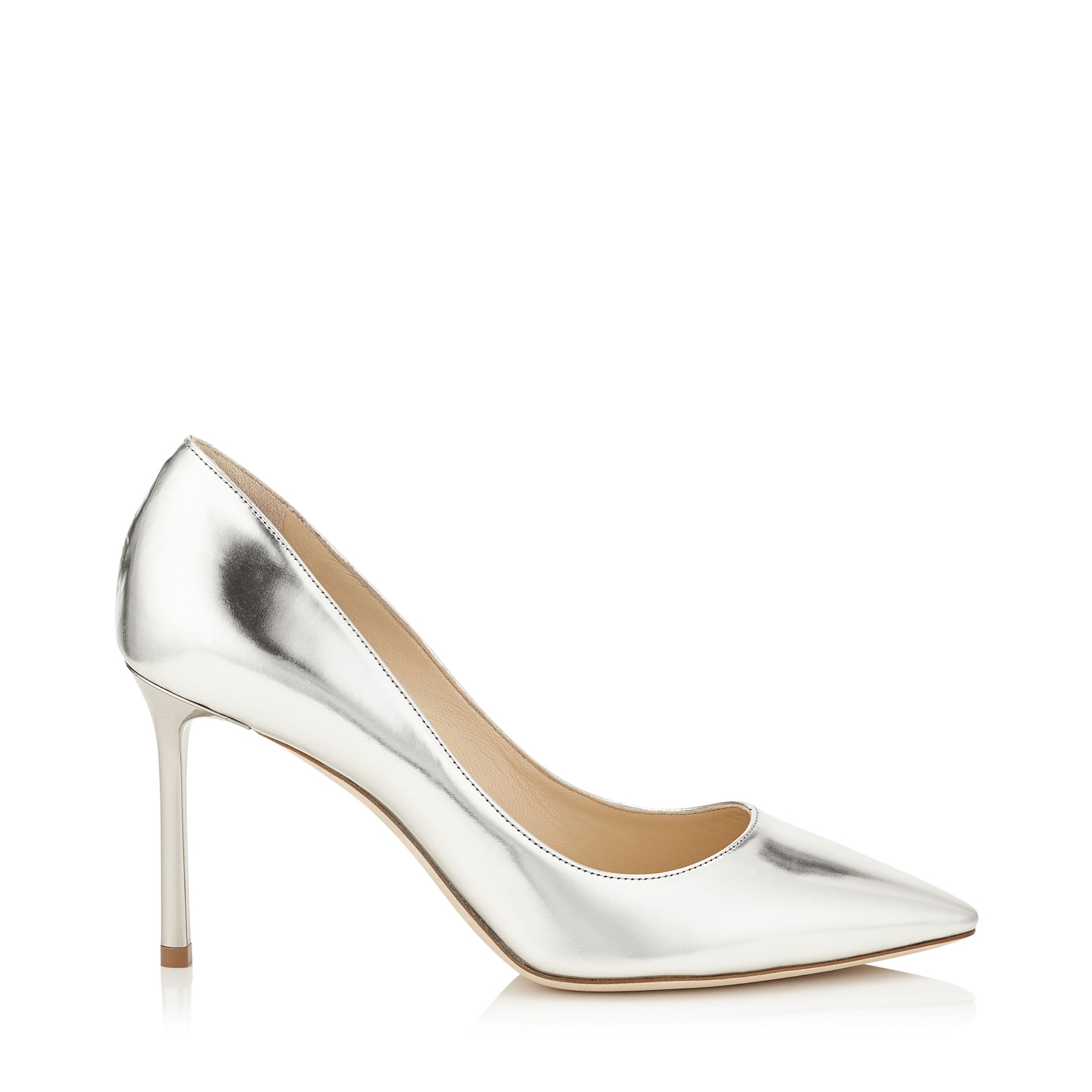 ROMY 85 Silver Mirror Leather Pointy Toe Pumps