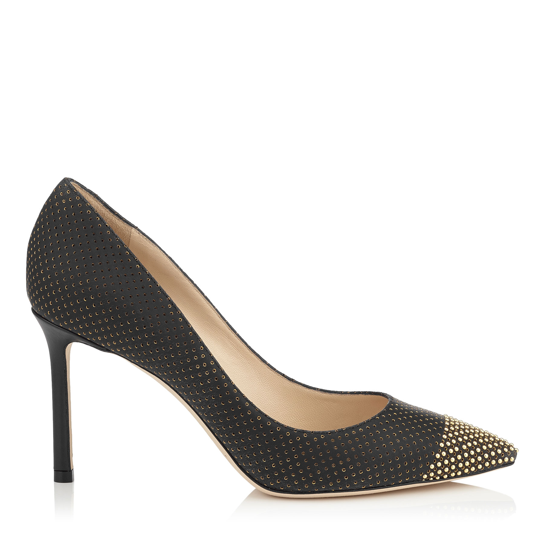 ROMY 85 Black and Gold Perforated Suede Pointy Toe Pumps with Studs