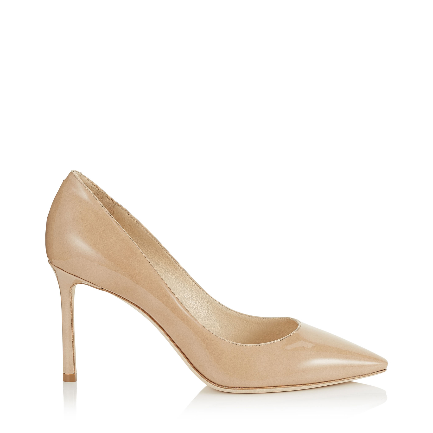 ROMY 85 Nude Patent Leather Pointy Toe Pumps
