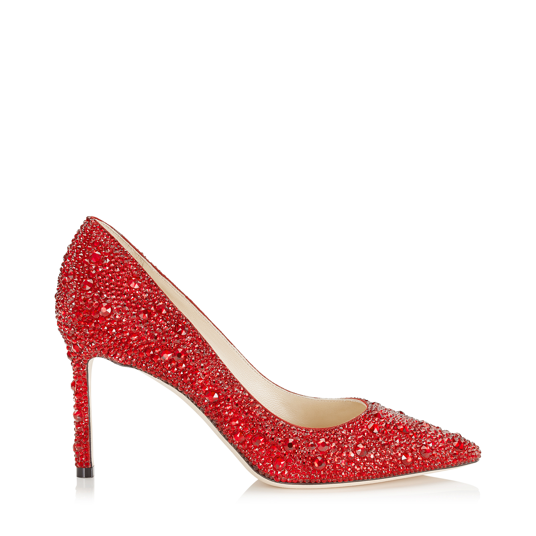 ROMY 85 Red Crystal Covered Pointy Toe Pumps by Jimmy Choo