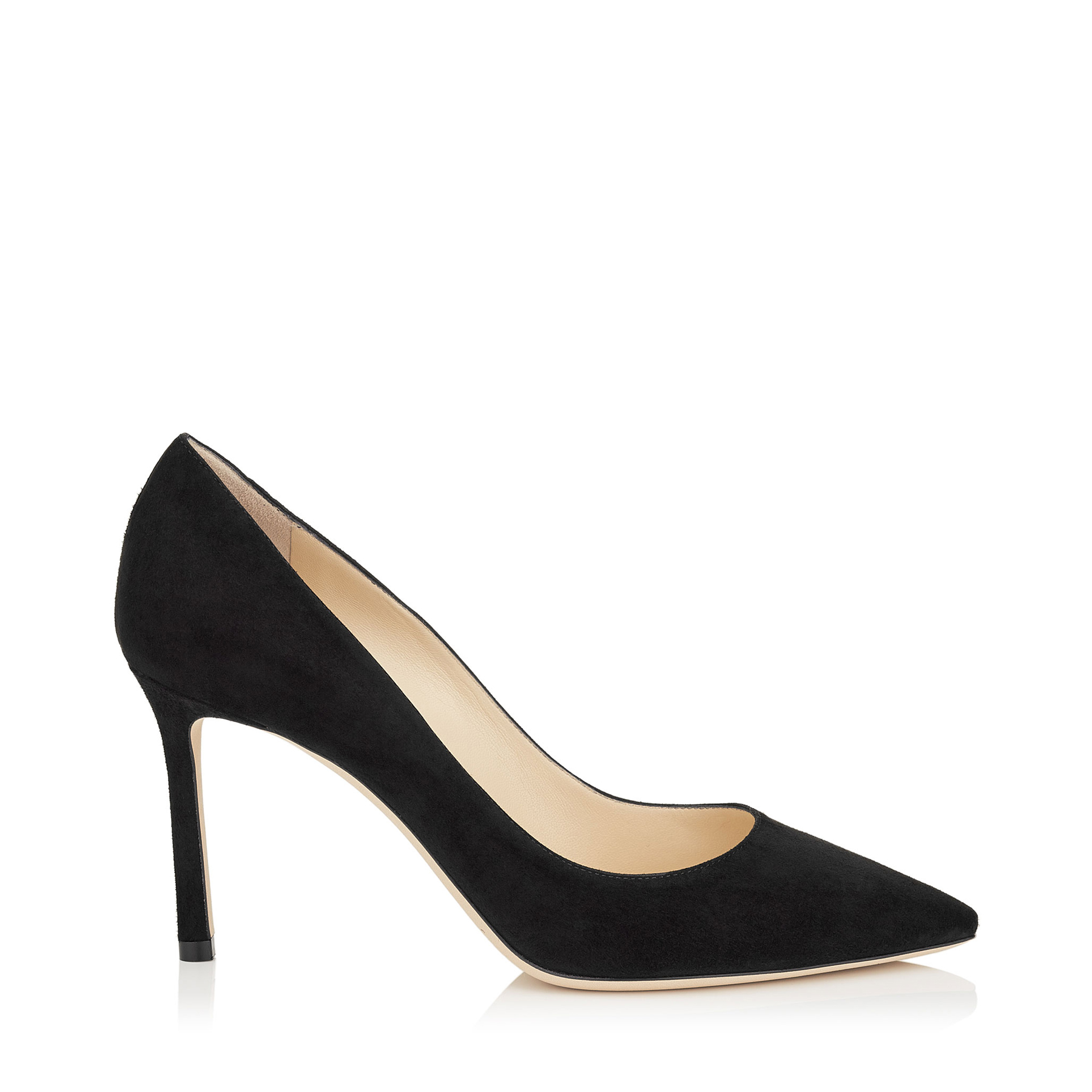 ROMY 85 Black Suede Pointy Toe Pumps