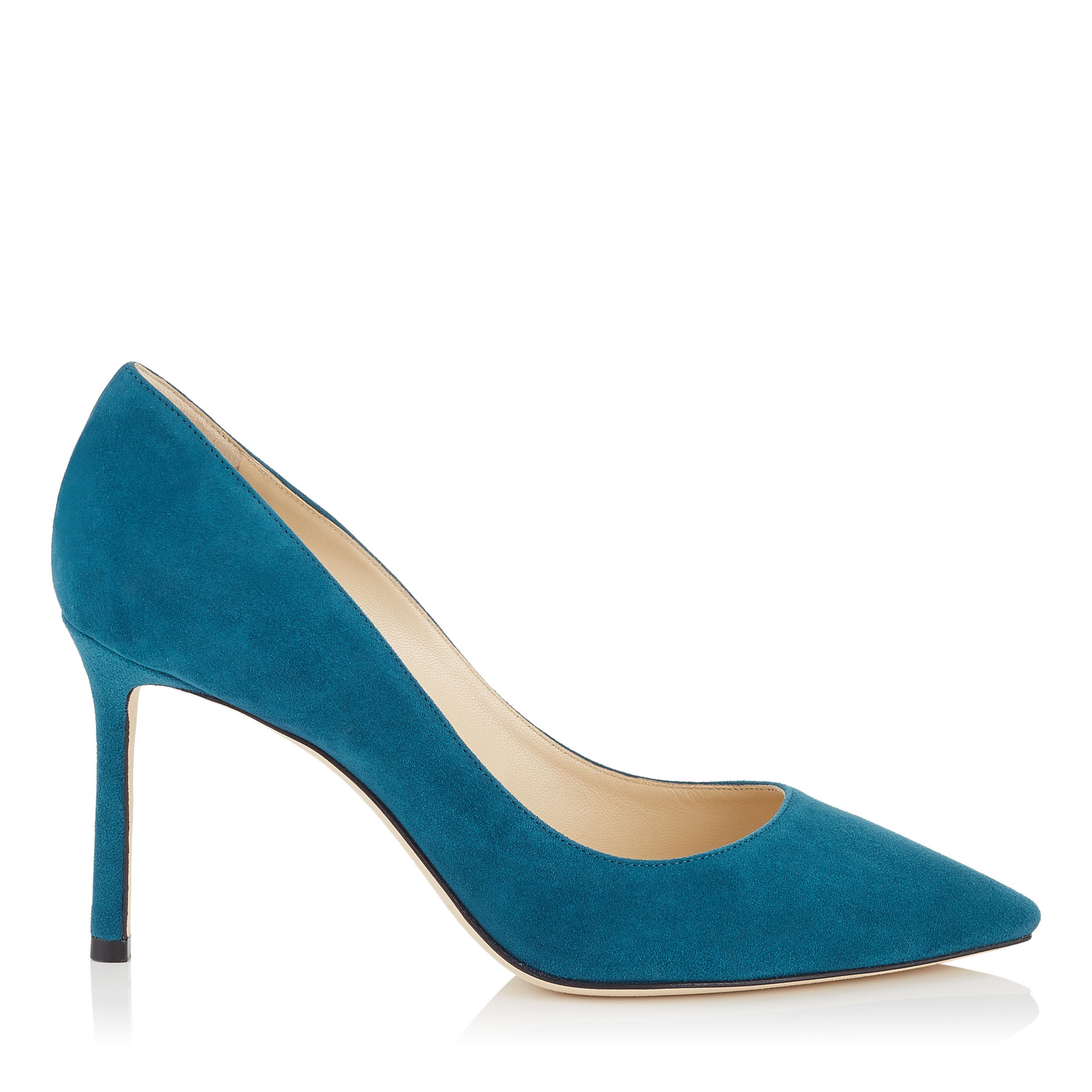 ROMY 85 Midnight Blue Suede Pointy Toe Pumps