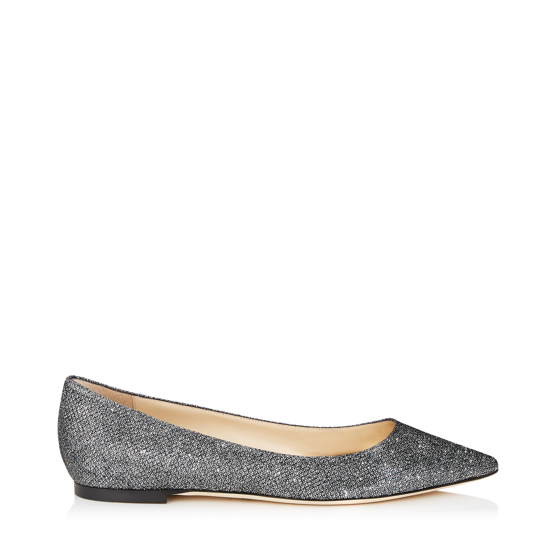 ROMY FLAT Anthracite Lamé Glitter Fabric Pointy Toe Flats
