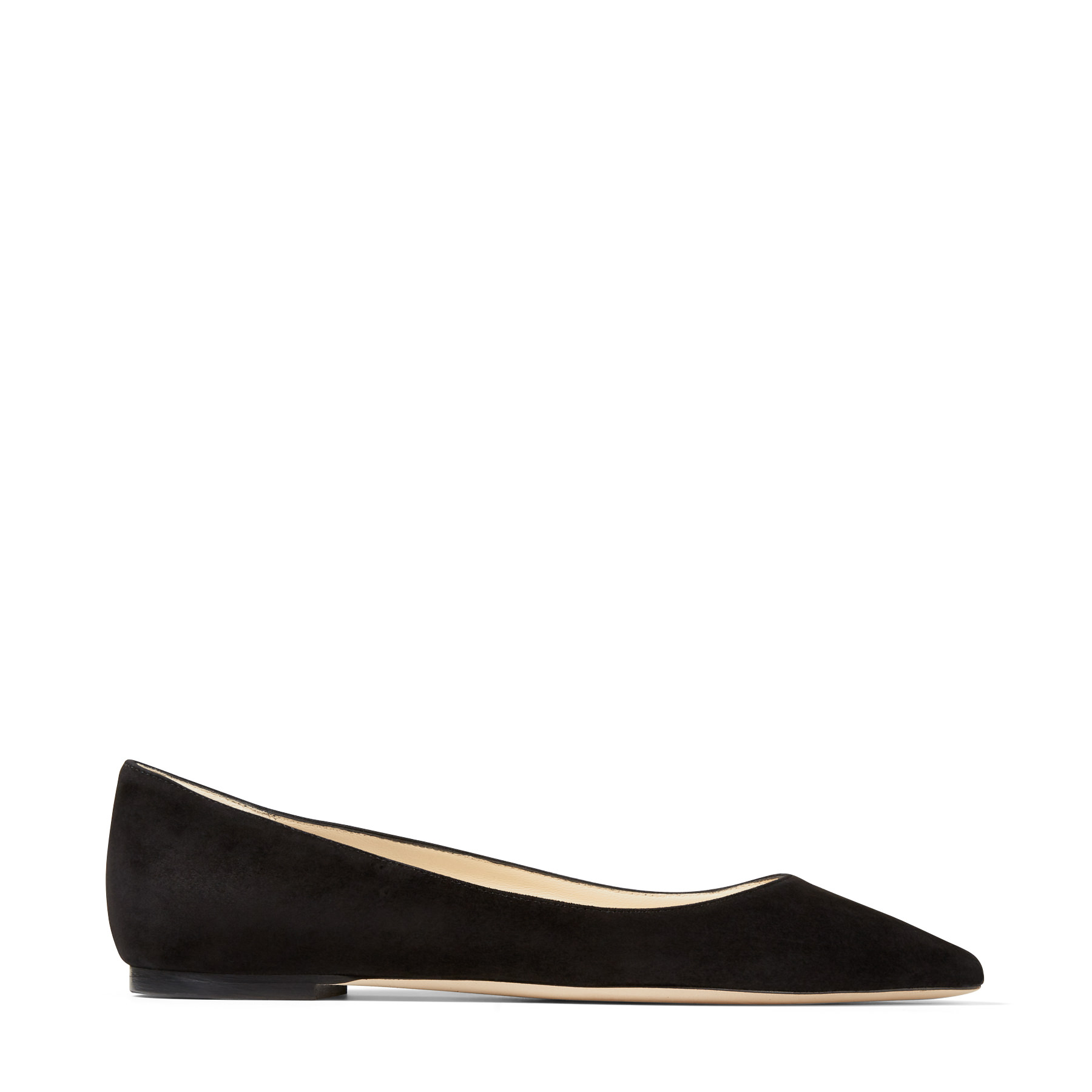 ROMY FLAT Black Suede Pointy Toe Flats