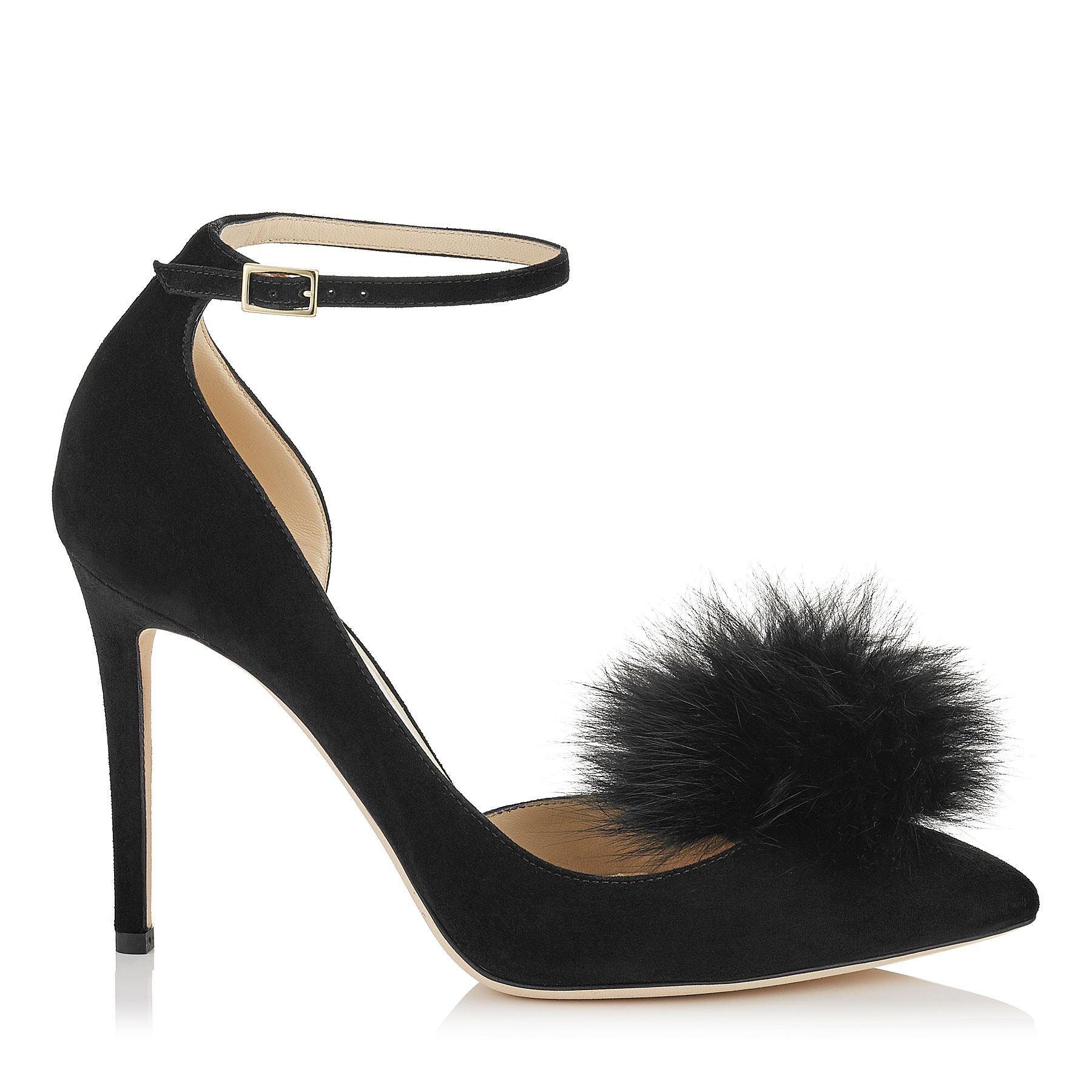 ROSA 100 Black Suede Pointy Toe Pumps with Clip on Pom Poms