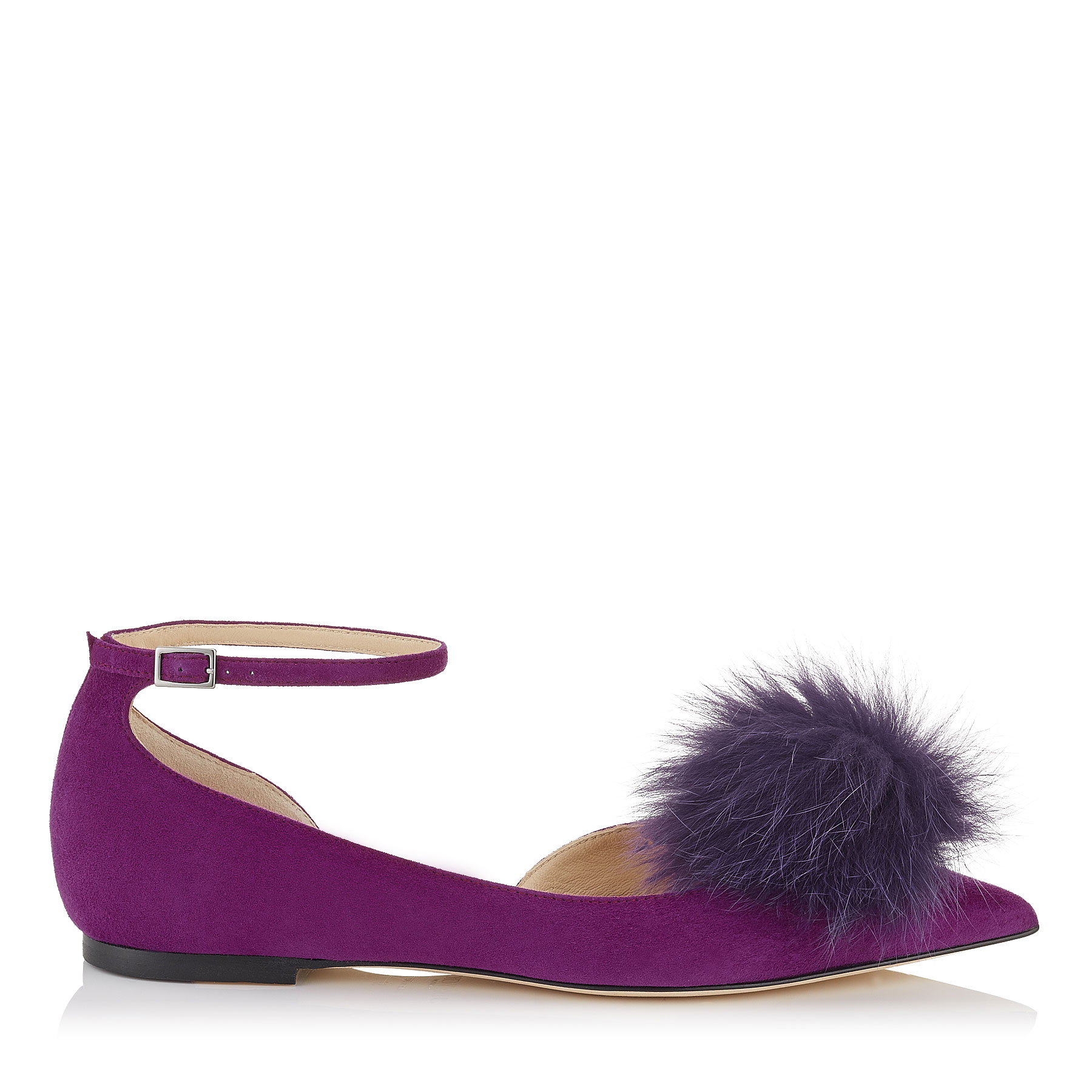ROSA FLAT Madeline Suede Pointy Toe Pumps with Clip on Pom Poms