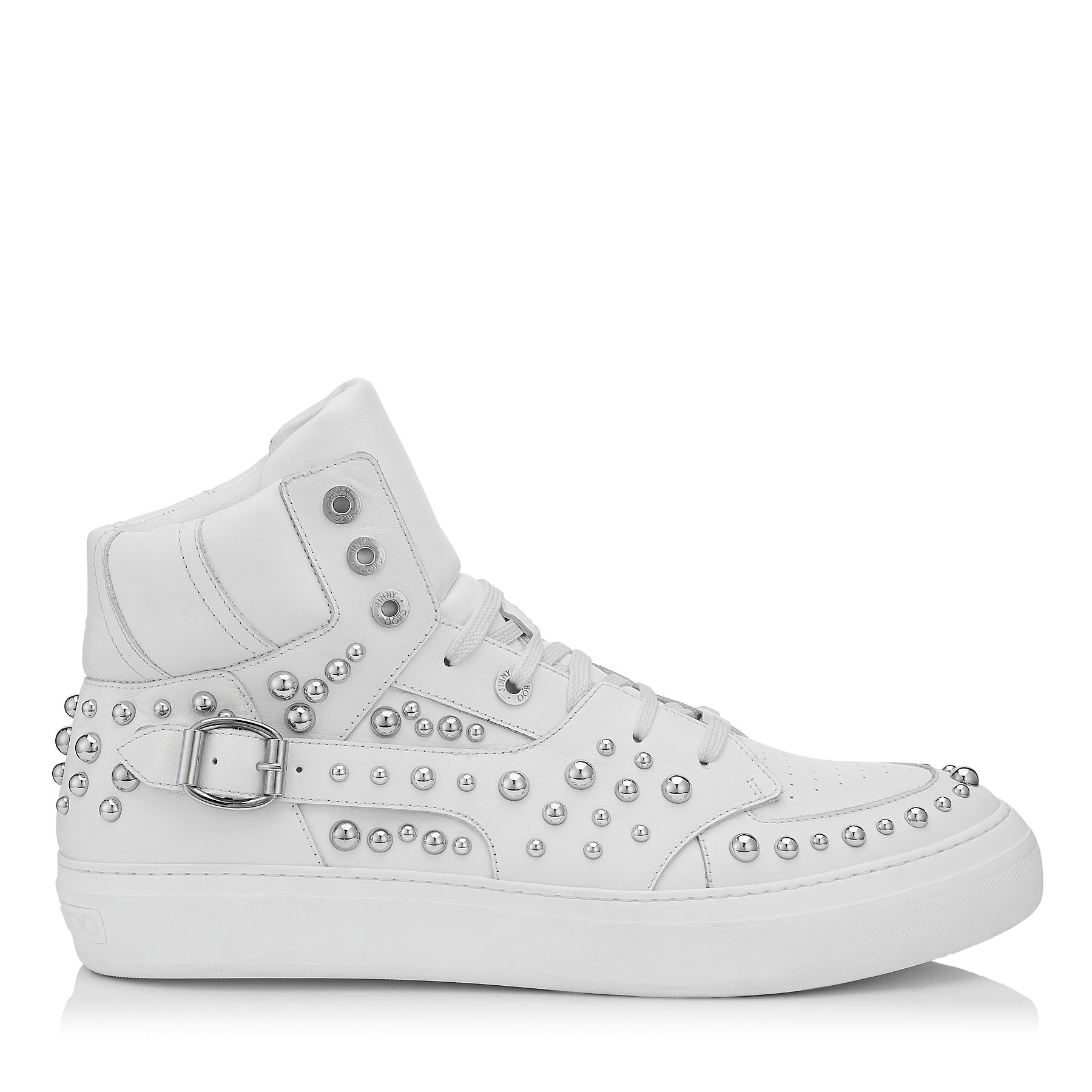 RUBEN White and Steel Sport Calf Leather High Top Trainers with Studs