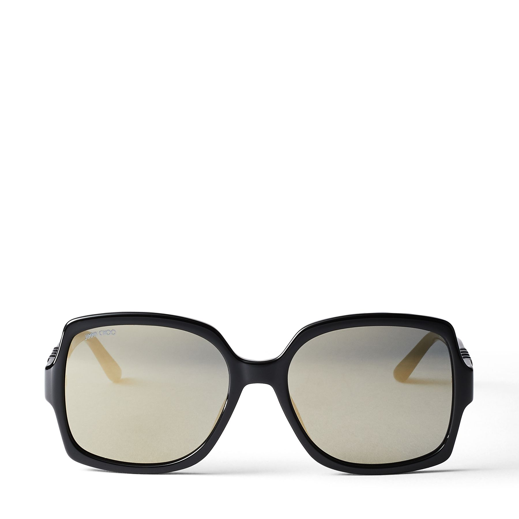 Our statement SAMMI sunglasses are instantly recognisable. Made in Italy, this oversized, square-eye pair features grey shaded lenses with super bronze mirror effect. They are finished with our CHOO glittered gold insert on the side. A perfect example of understated excellence, while adding a touch of sparkle to your everyday.
