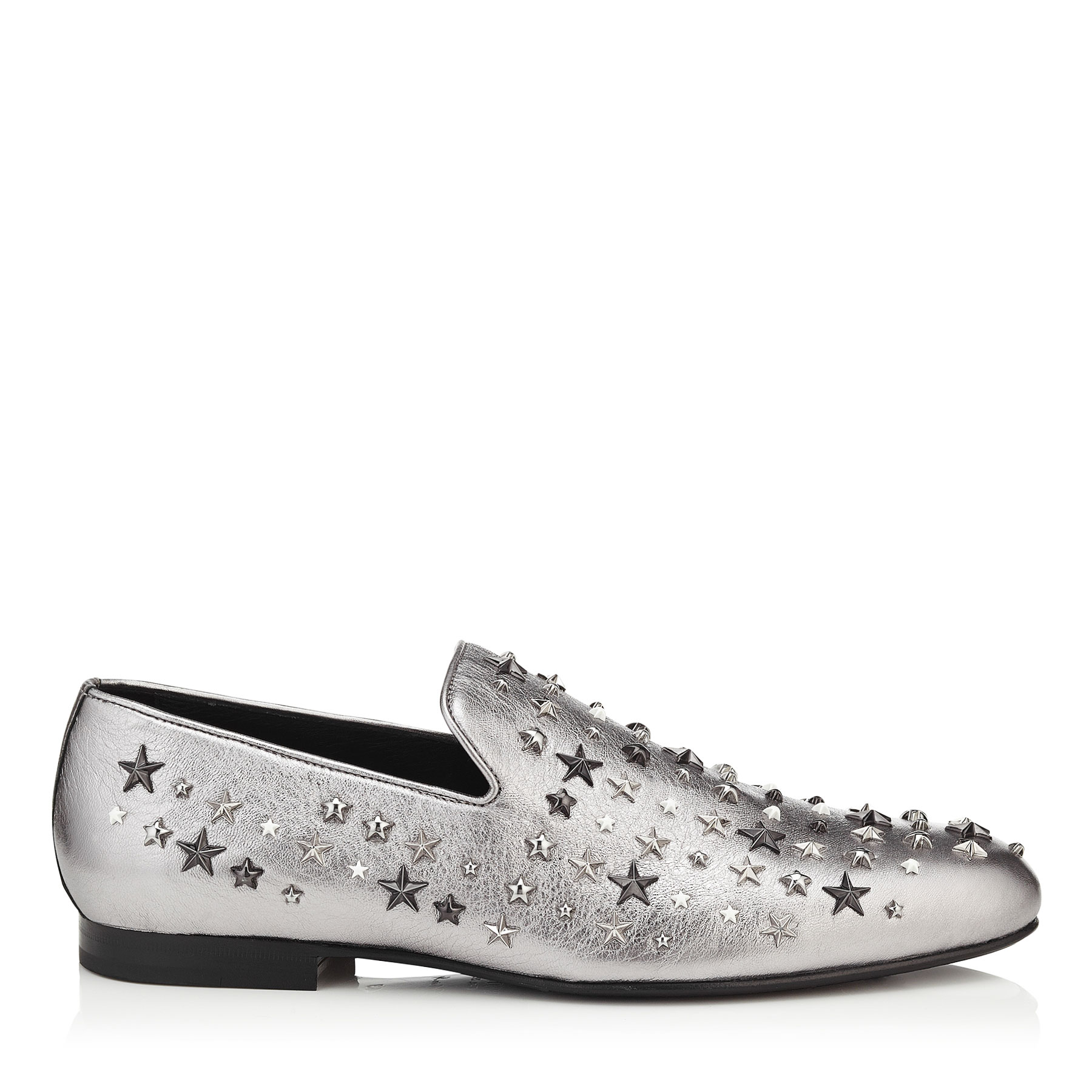 SLOANE Silver Mix Metallic Leather with Stars Slippers