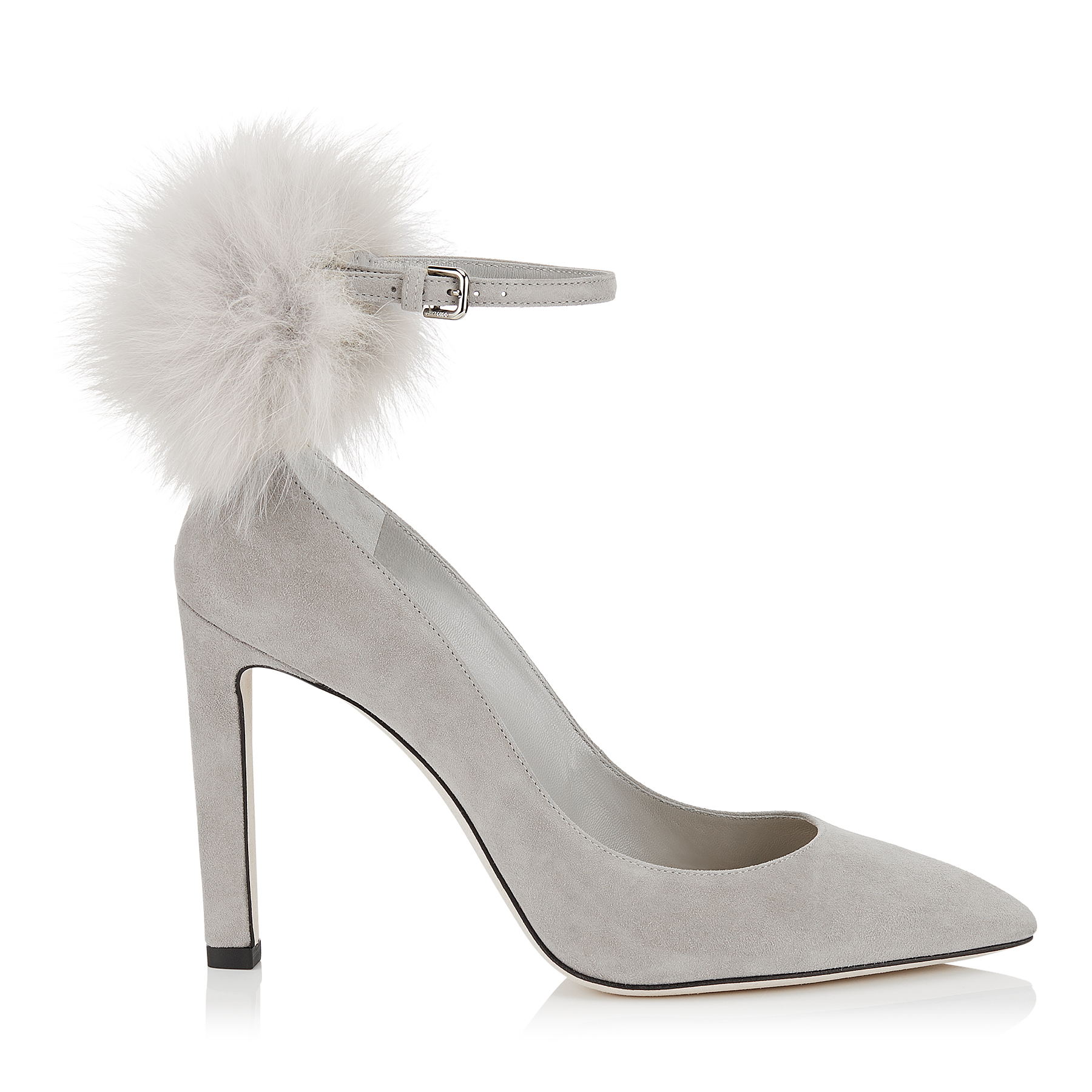 SOUTH 100 Moonstone Suede Pumps with White Fox Fur Pom Poms by Jimmy Choo
