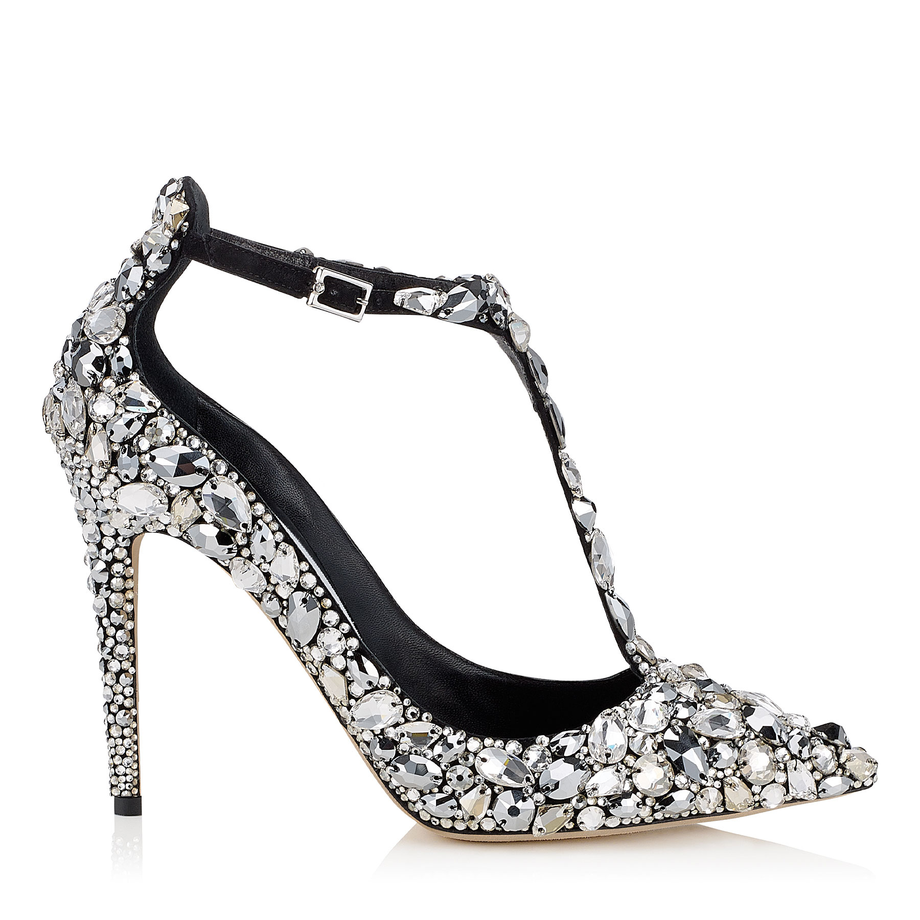 STORM 100 Black Suede, Crystal Covered Pointy Toe Pumps