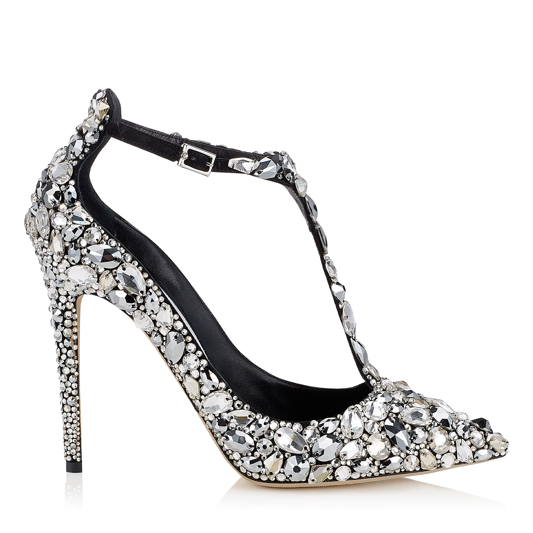 STORM 110 Black Suede, Crystal Covered Pointy Toe Pumps