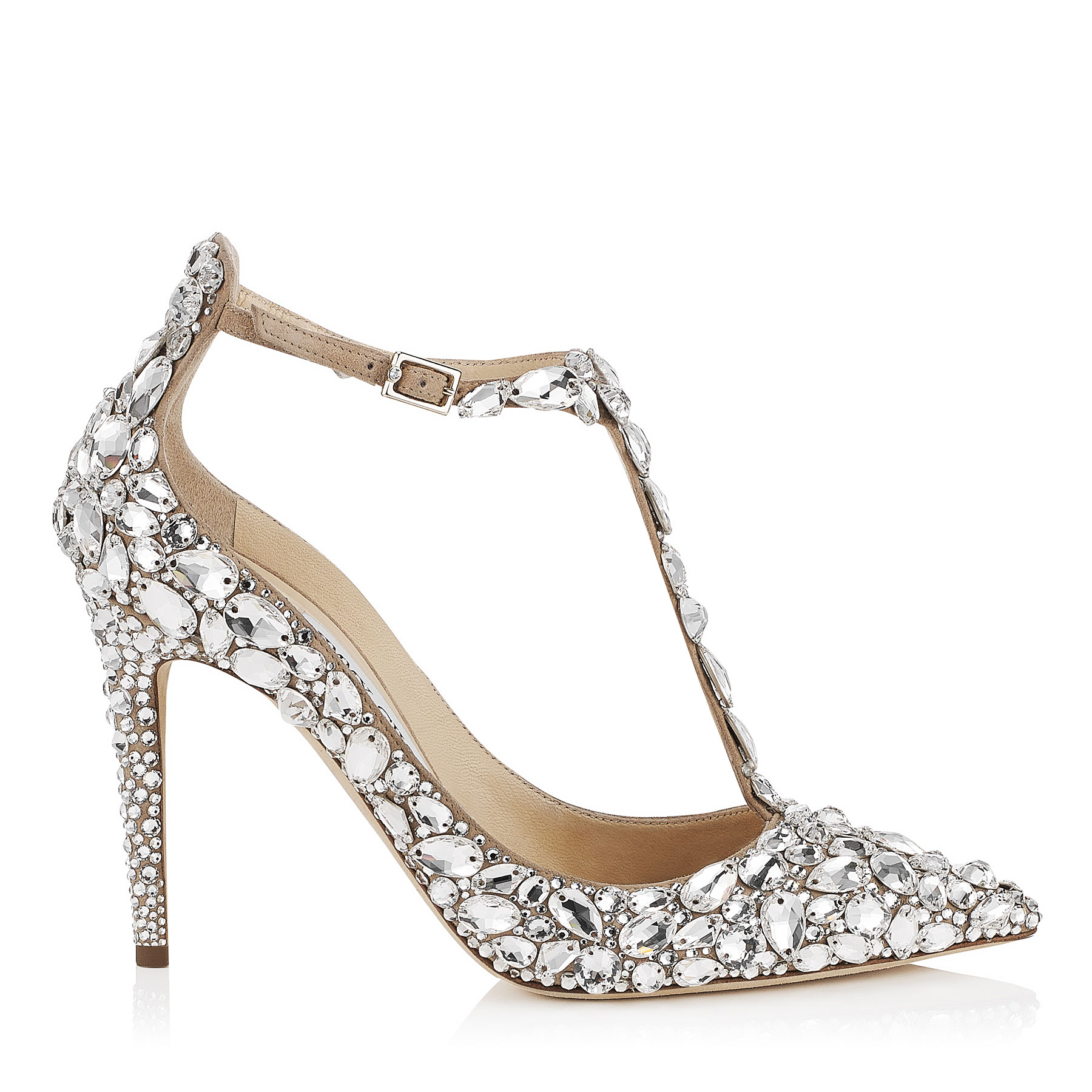 STORM 85 Nude Suede, Crystal Covered Pointy Toe Pumps