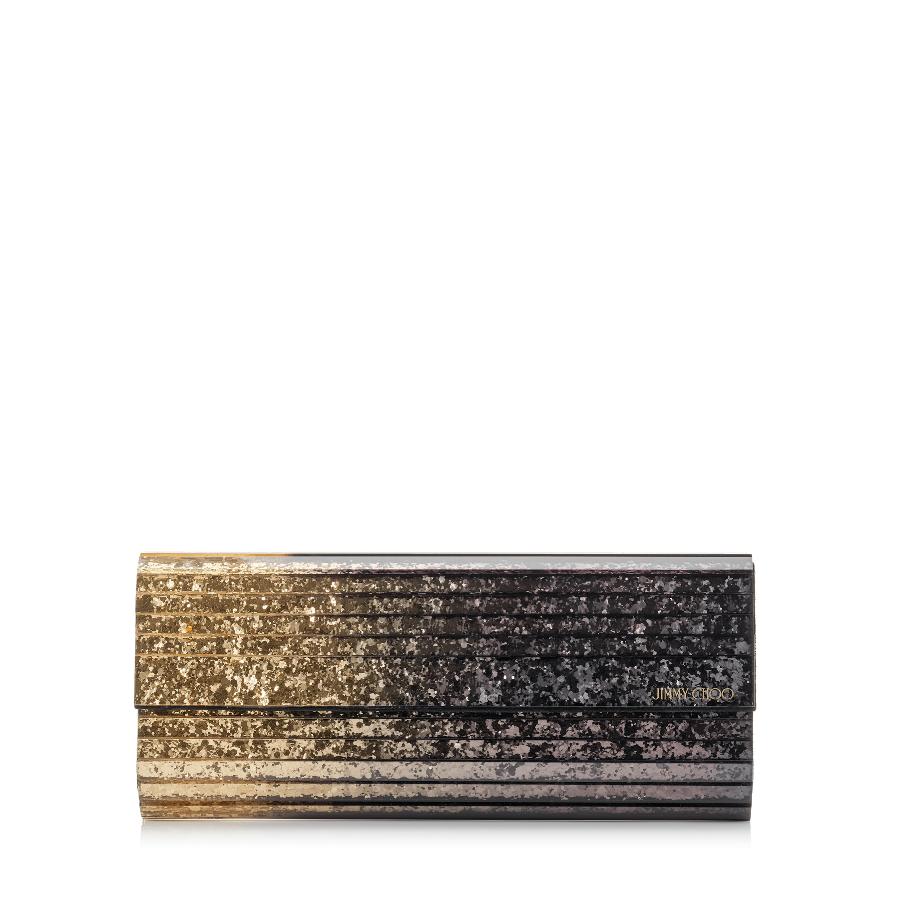 SWEETIE Antique Gold and Anthracite Dégradé Glitter Acrylic Clutch Bag with Gold Chain Strap