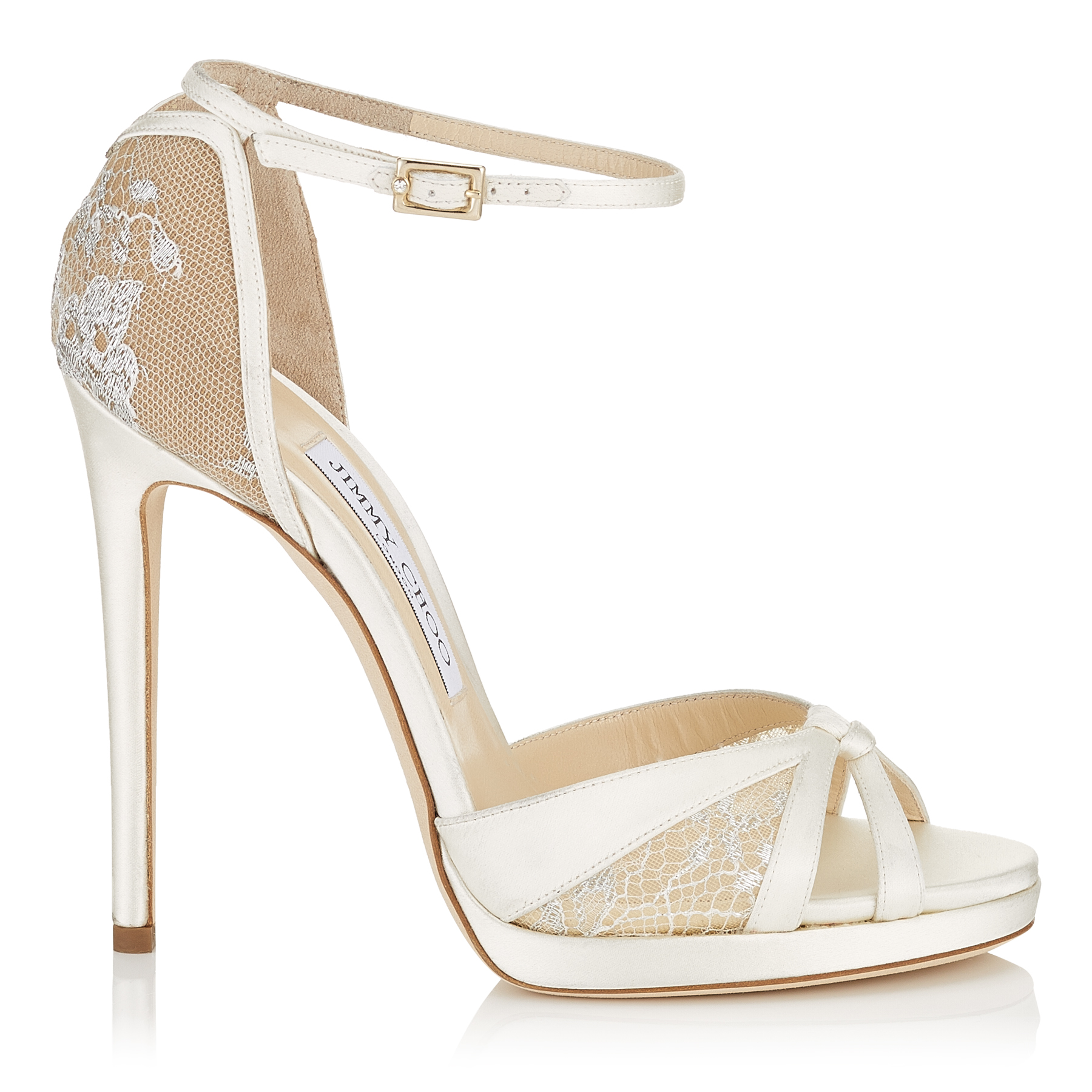 TALIA 120 Ivory Satin and White Lace Sandals