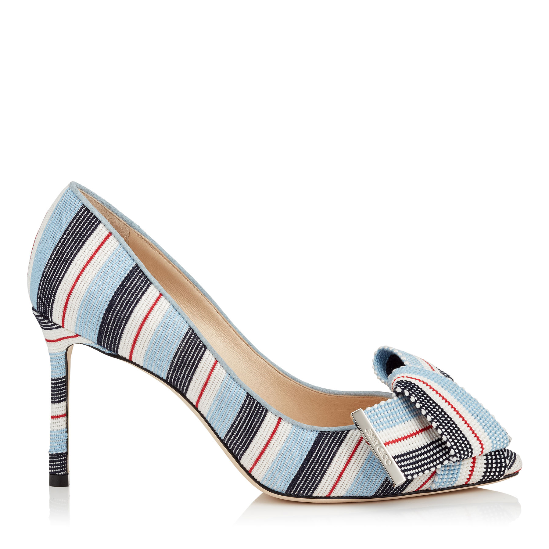 TEGAN 85 Aqua Mix Tape Pointy Toe Pumps with Bow Detailing by Jimmy Choo