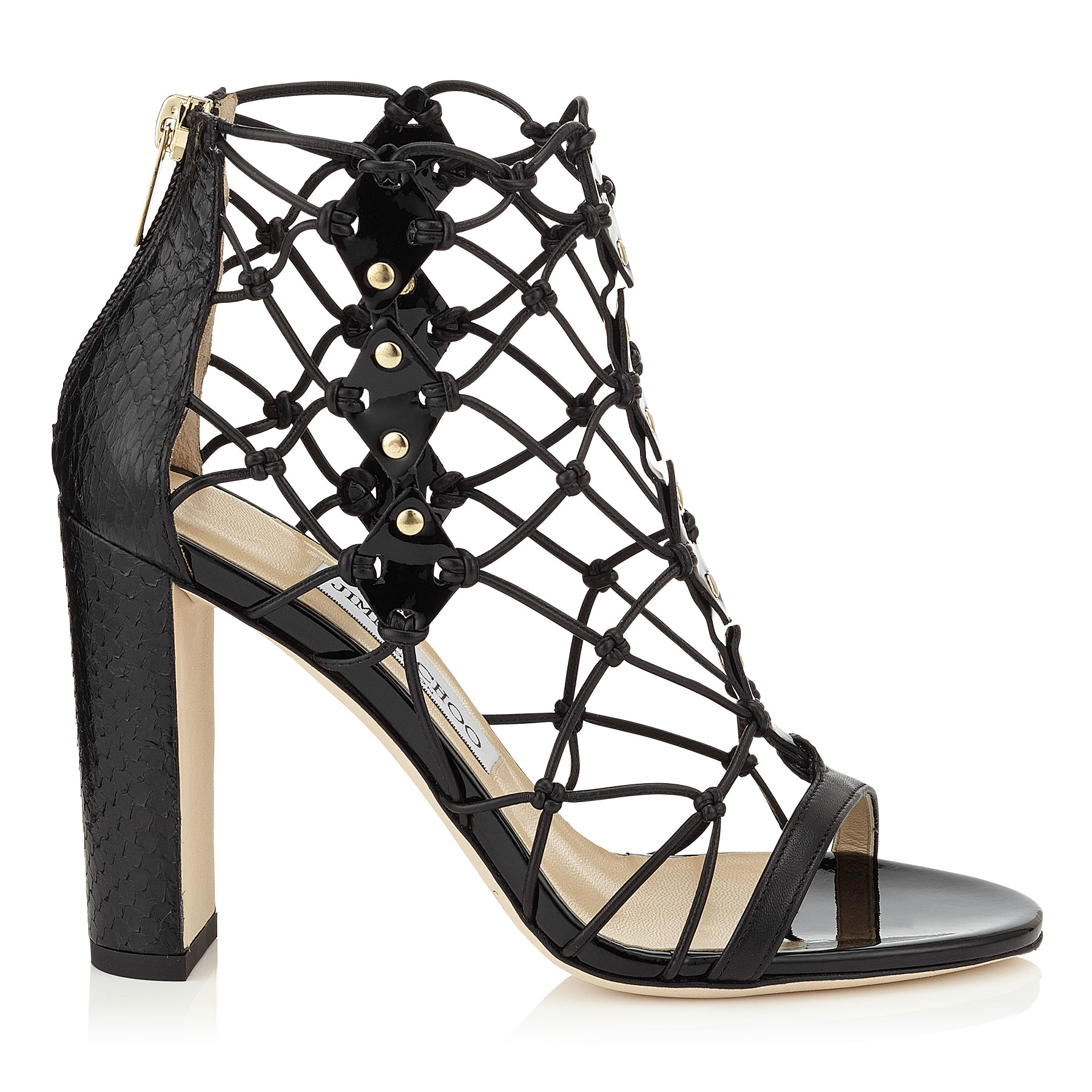 TICKLE 100 Black Nappa, Patent Leather and Elaphe Caged Sandals