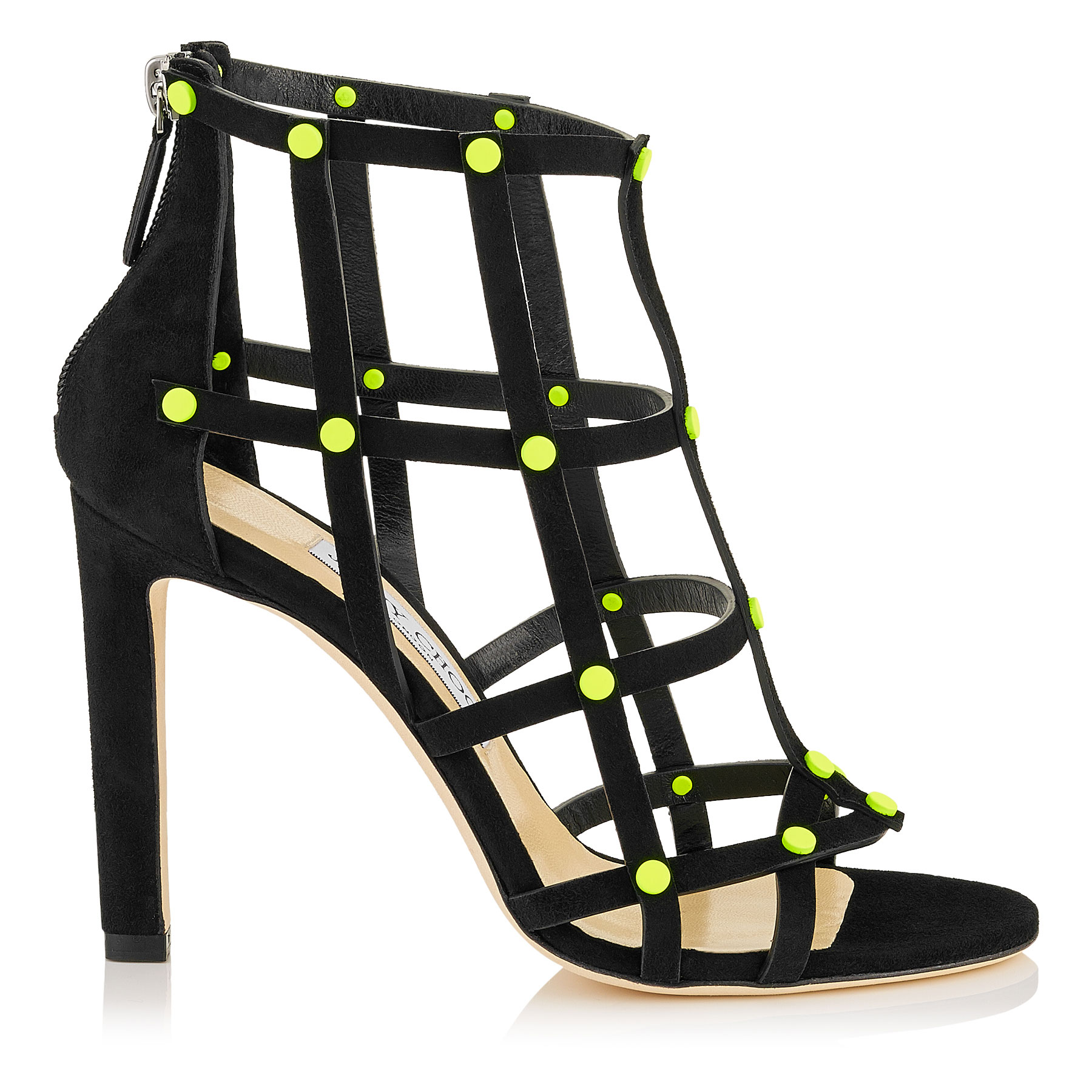 TINA 100 Black Suede Sandals with Shocking Yellow Neon Studs