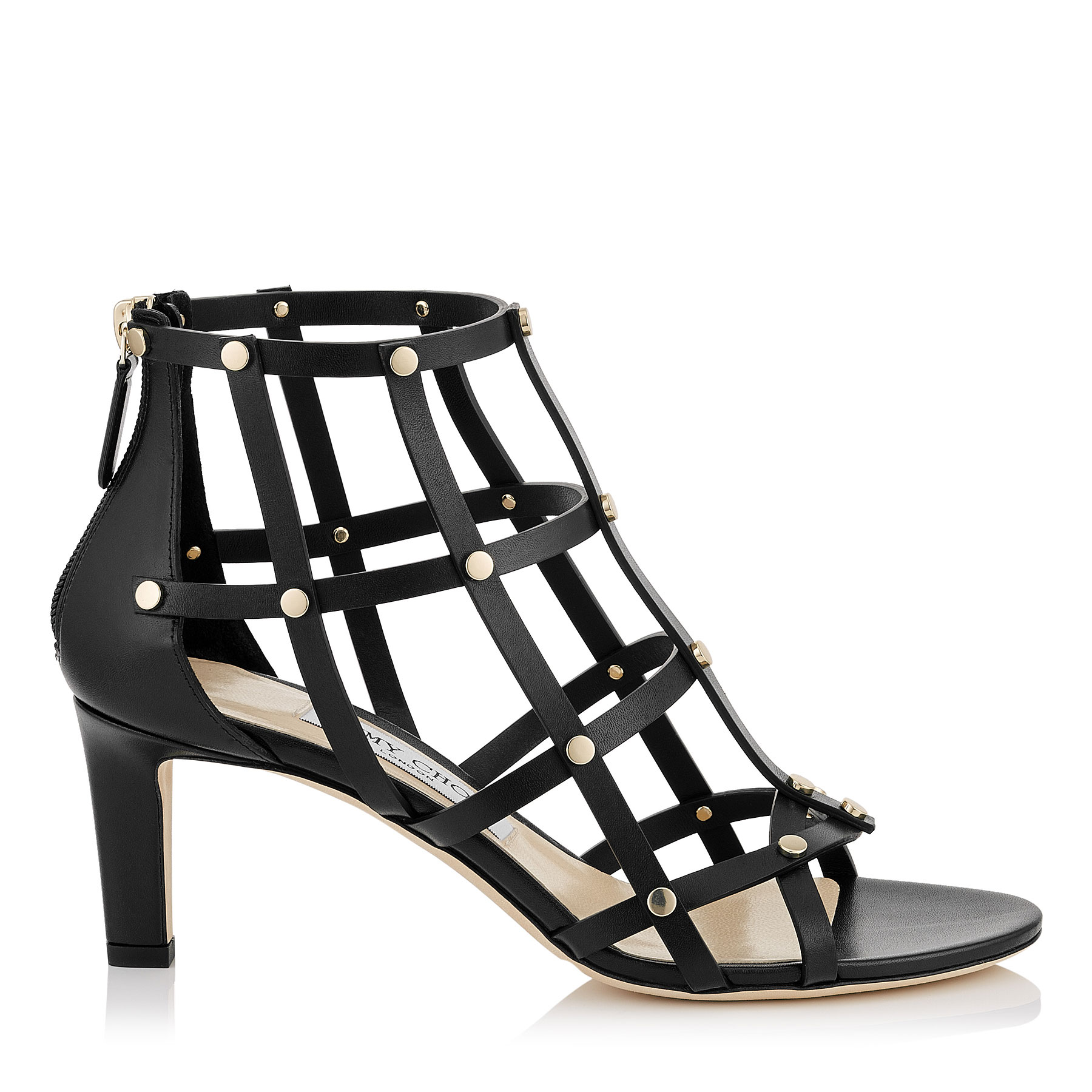 TINA 65 Black Calf Leather Sandals with Light Gold Studs