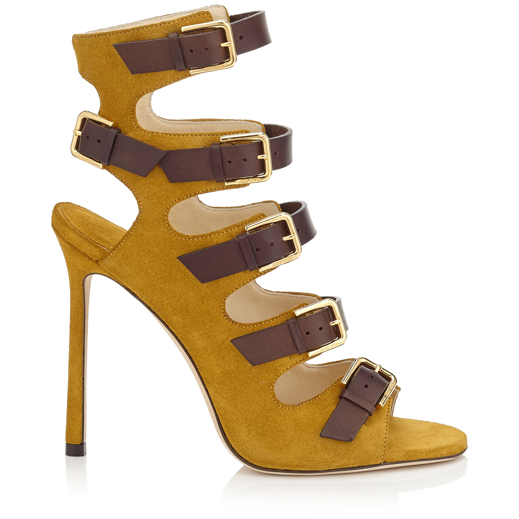 TRICK 110 Amber Suede and Dark Brown Leather Buckled Sandals