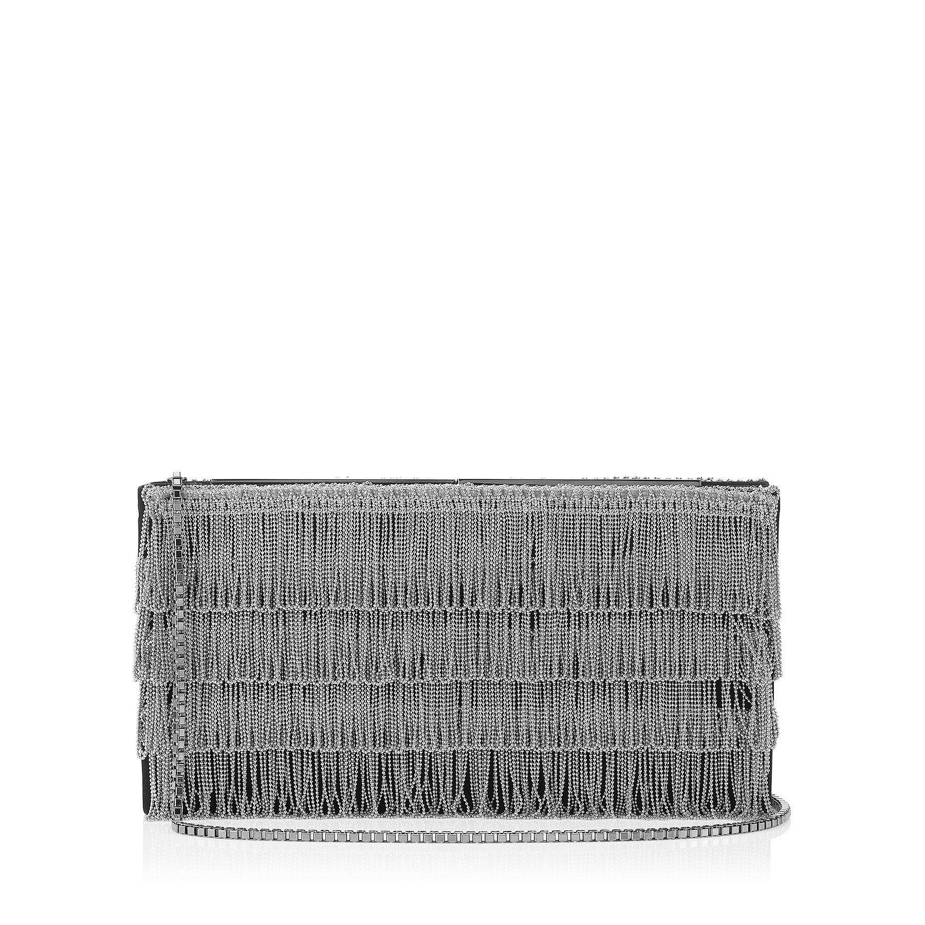 TUX Platinum Suede Clutch Bag with Crystal Chainmail Tassels